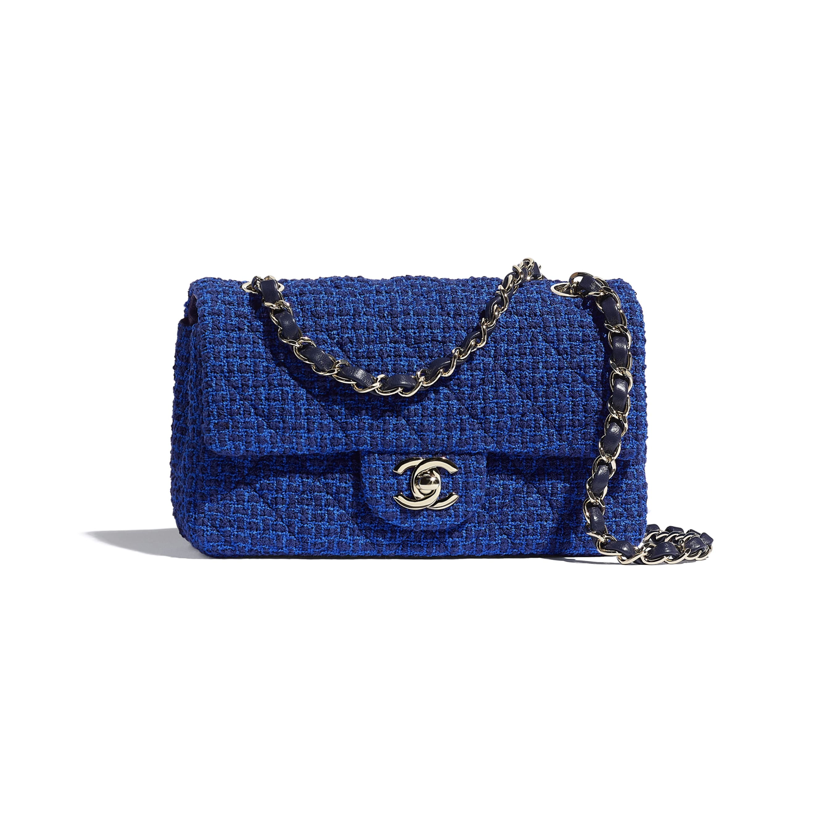 Mini Flap Bag - Blue & Navy Blue - Tweed & Gold Metal - CHANEL - Default view - see standard sized version