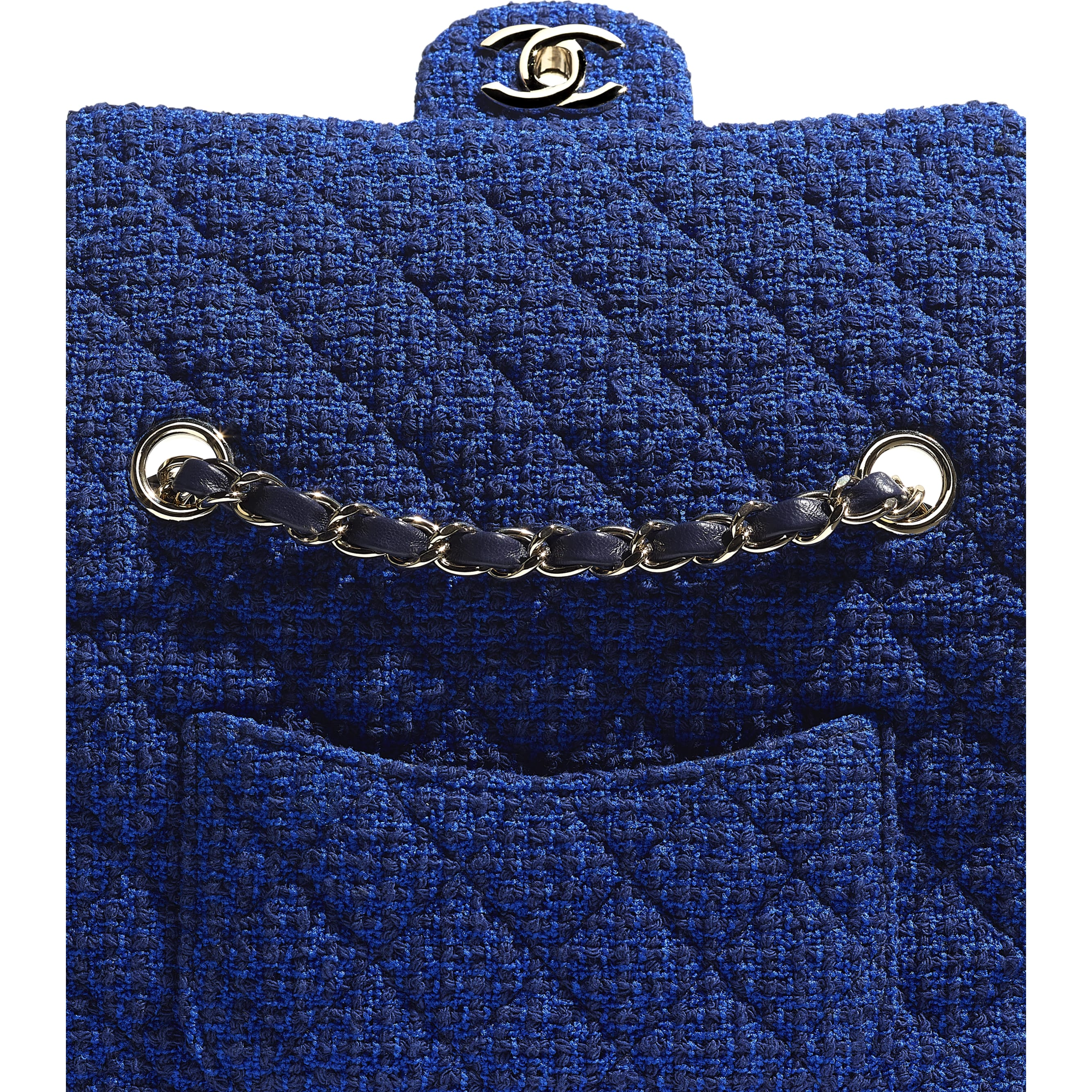 Mini Flap Bag - Blue & Navy Blue - Tweed & Gold Metal - CHANEL - Extra view - see standard sized version