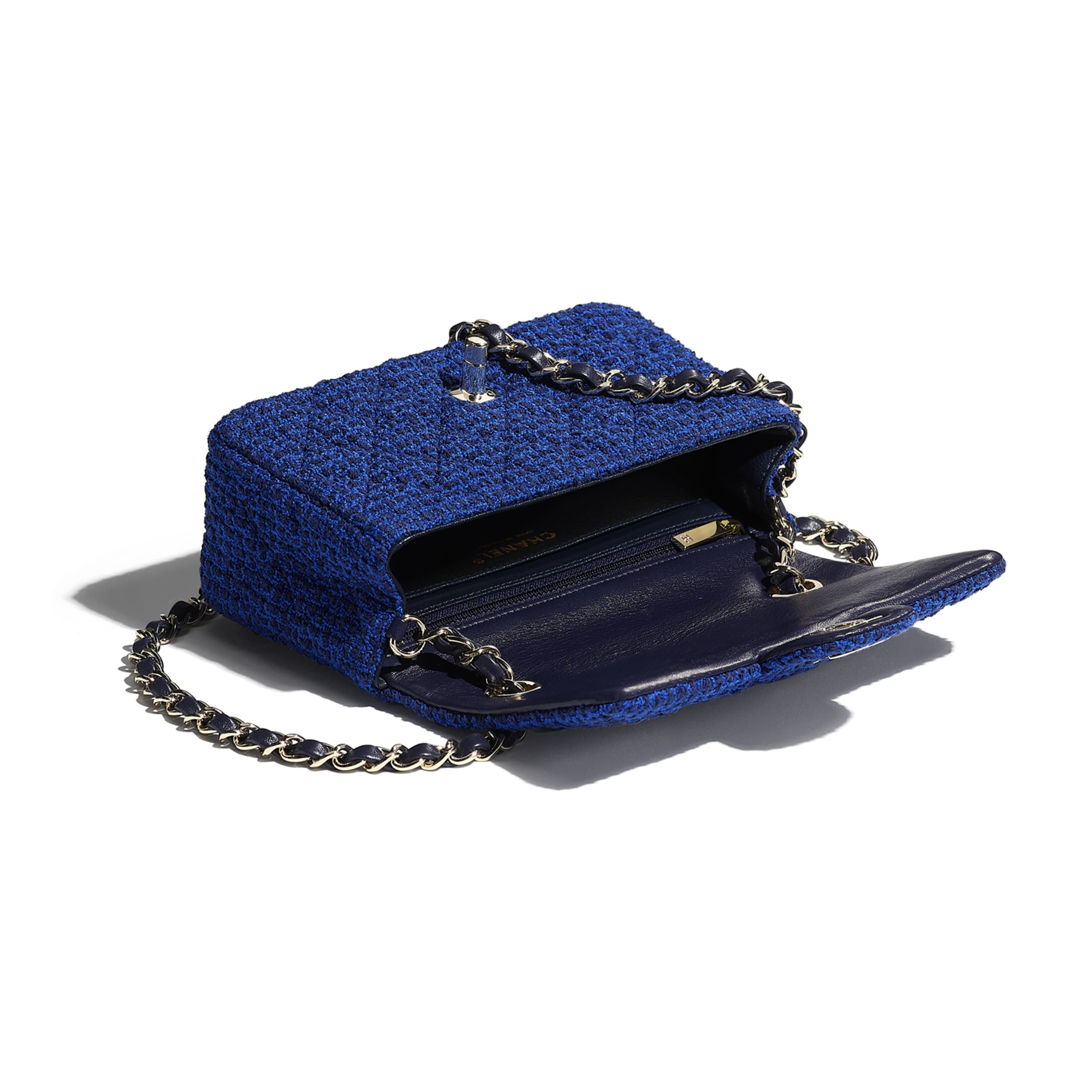 Mini Flap Bag - Blue & Navy Blue - Tweed & Gold Metal - CHANEL - Other view - see standard sized version