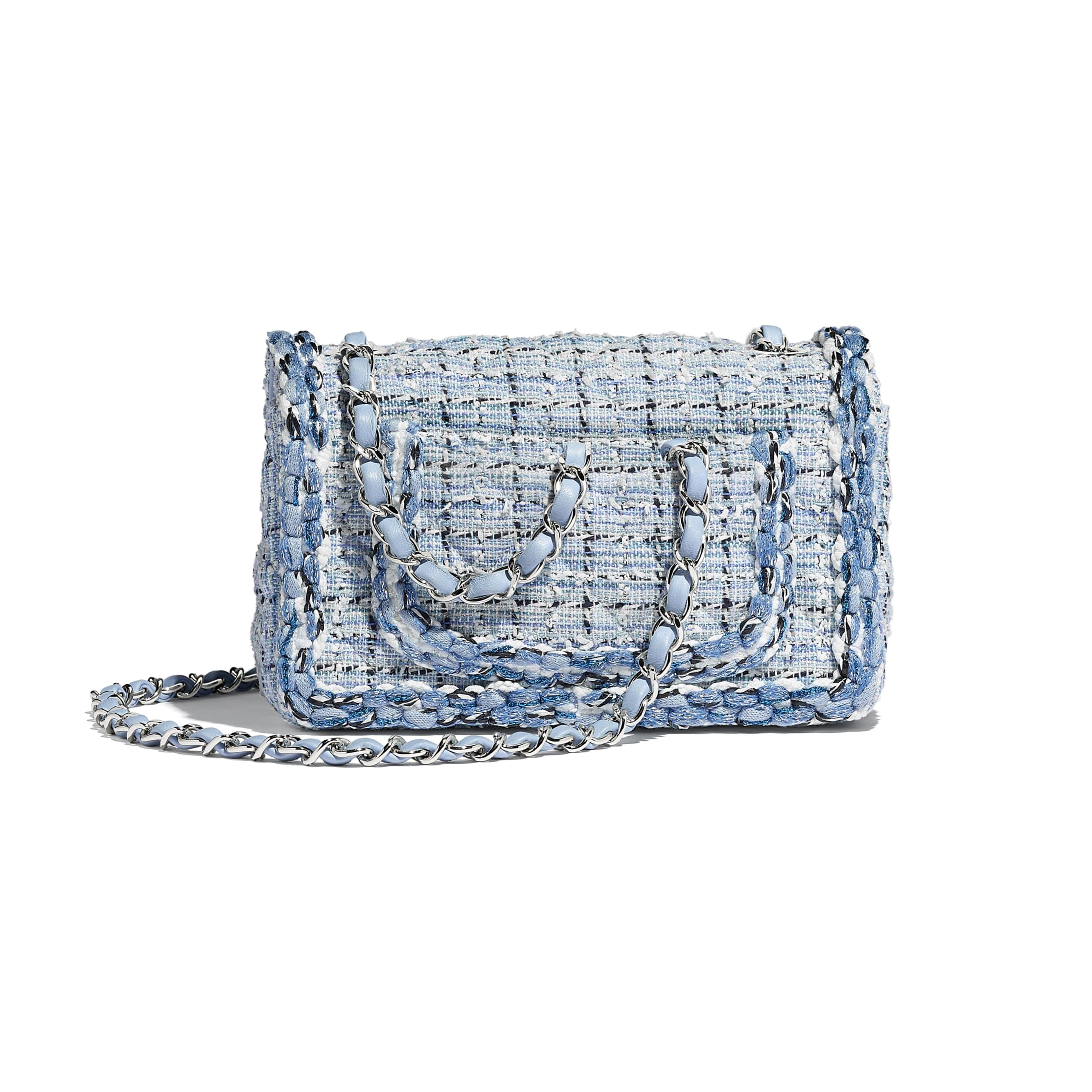 Mini Flap Bag - Blue & White - Tweed, Braid & Silver-Tone Metal - Alternative view - see standard sized version