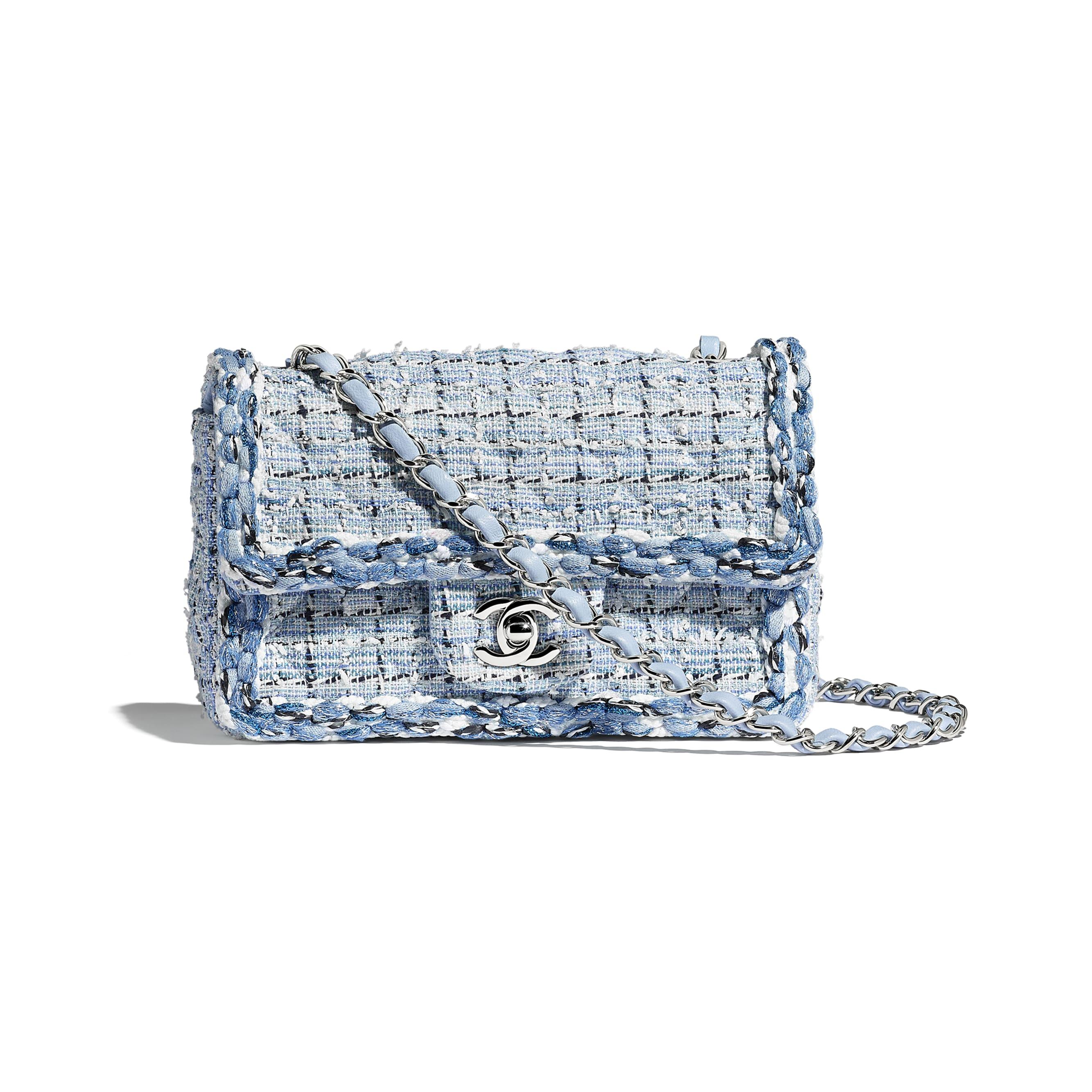 Mini Flap Bag - Blue & White - Tweed, Braid & Silver-Tone Metal - Default view - see standard sized version