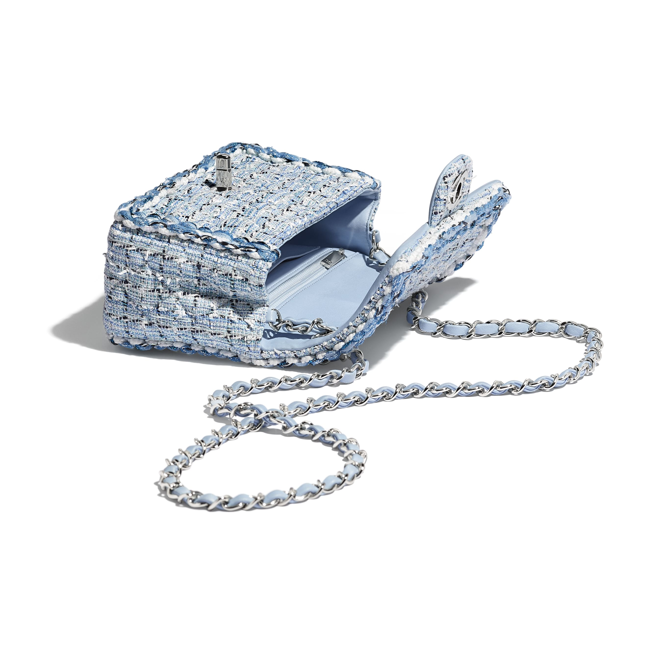 Mini Flap Bag - Blue & White - Tweed, Braid & Silver-Tone Metal - Other view - see standard sized version