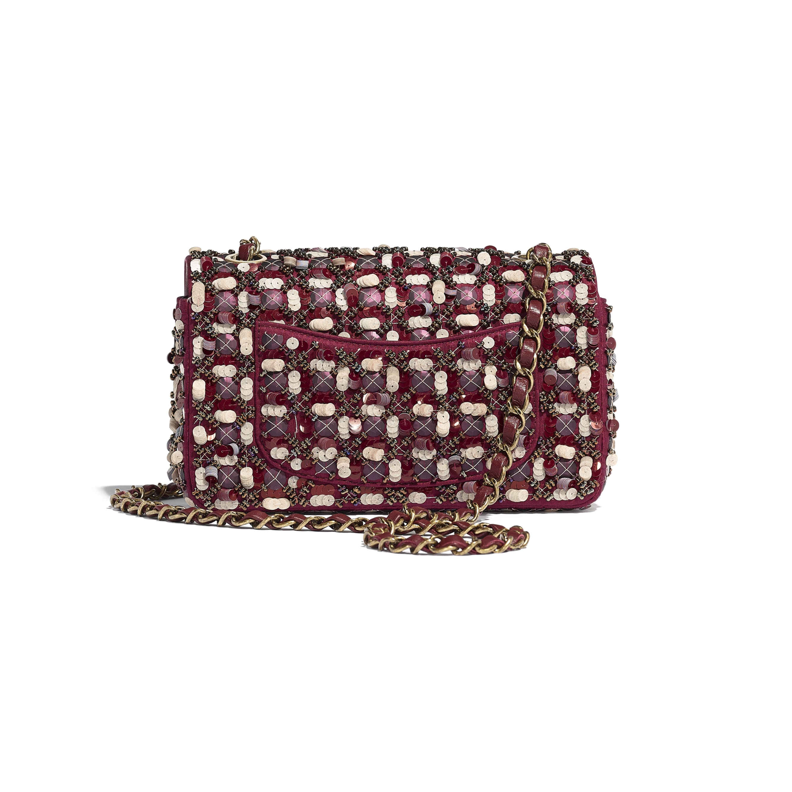 Mini Flap Bag - Burgundy, Pink & White - Satin, Sequins, Glass Pearls & Gold-Tone Metal - CHANEL - Alternative view - see standard sized version