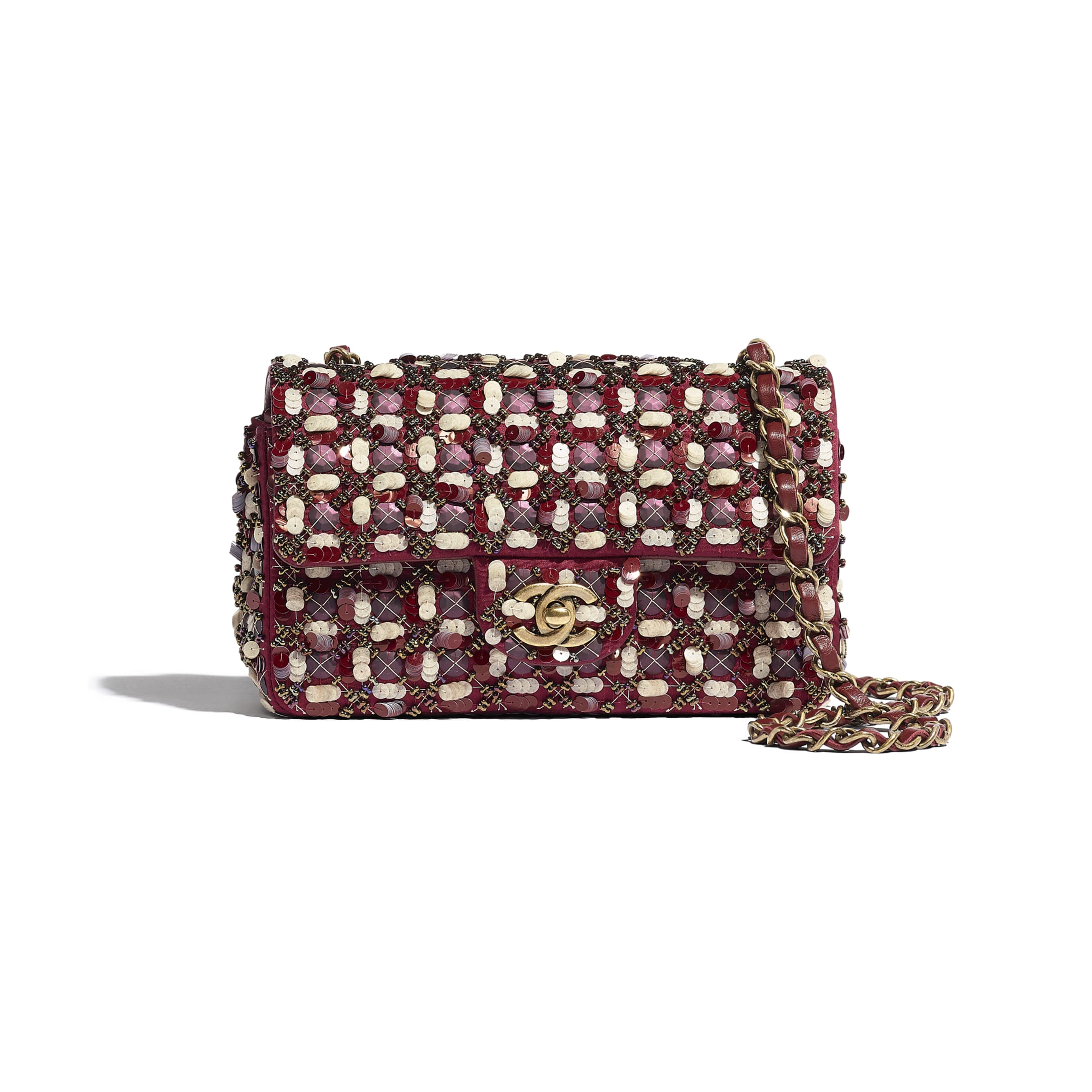 Torebka z klapką wersja mini - Kolor bordowy, różowy i biały - Satyna, cekiny, szklane perły i metal w tonacji złotej  - CHANEL - Widok domyślny – zobacz w standardowym rozmiarze