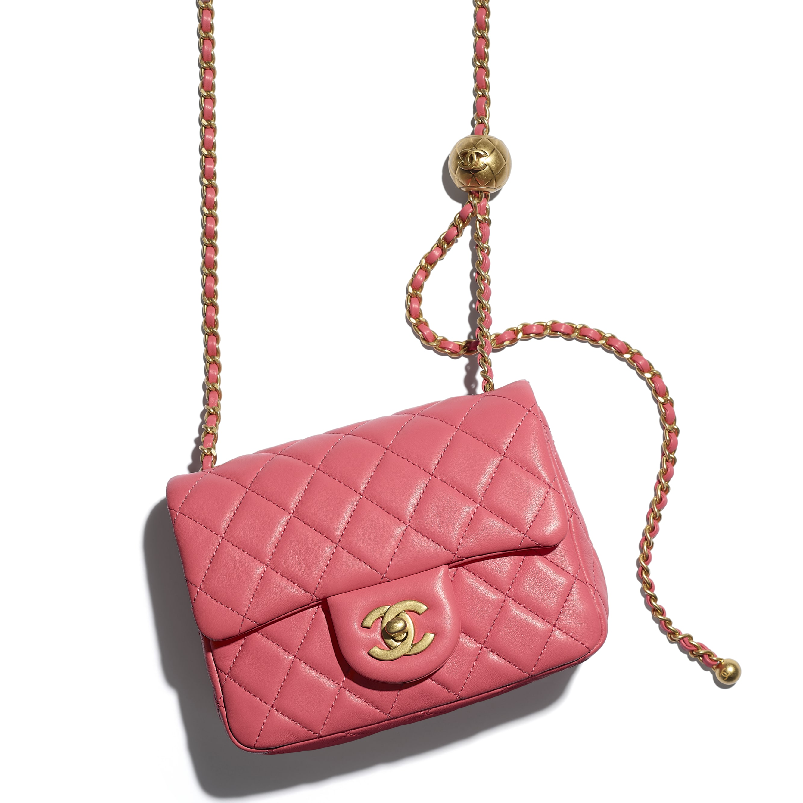 Mini Flap Bag - Coral - Lambskin - CHANEL - Extra view - see standard sized version