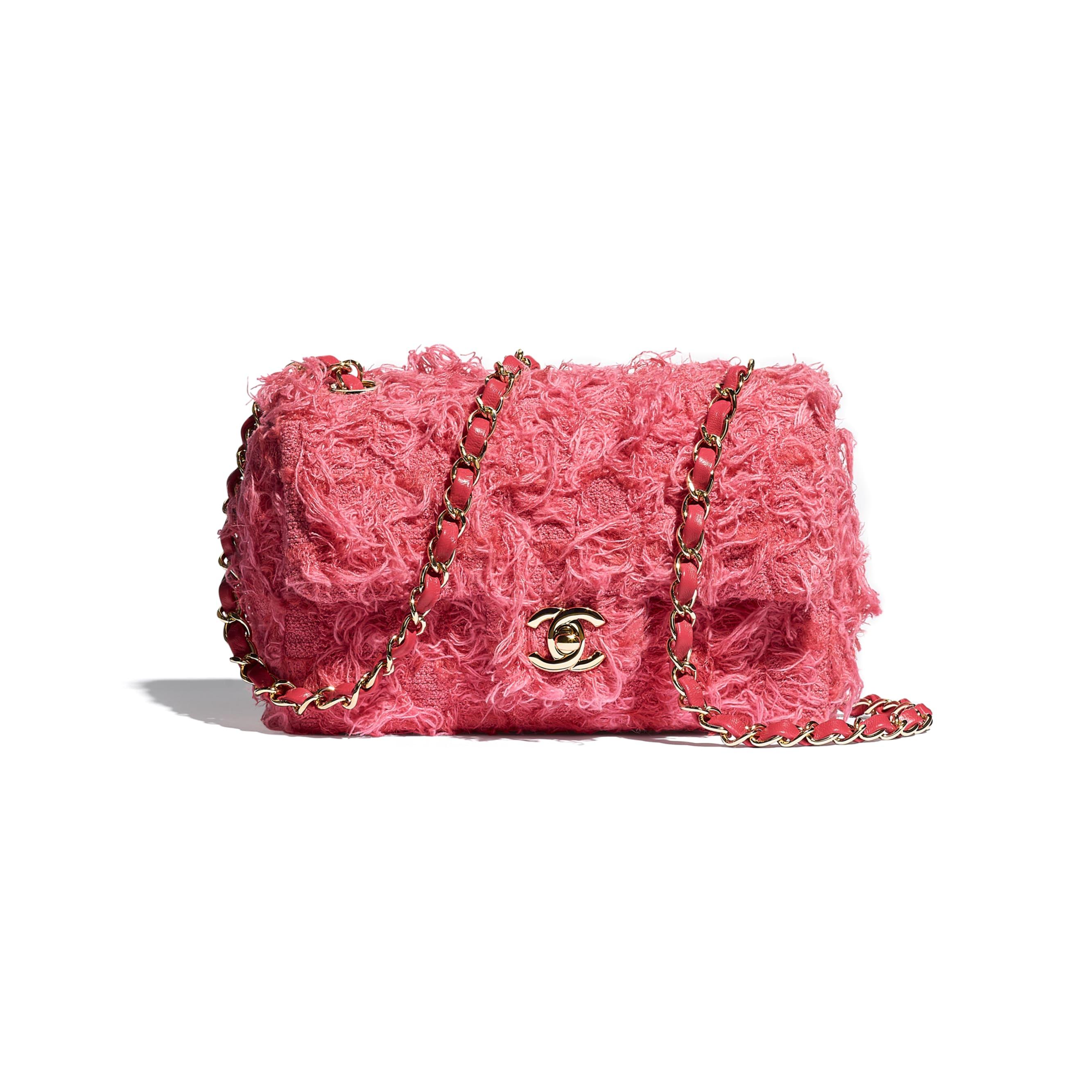 Mini sac à rabat - Corail - Tweed & métal doré - CHANEL - Vue par défaut - voir la version taille standard