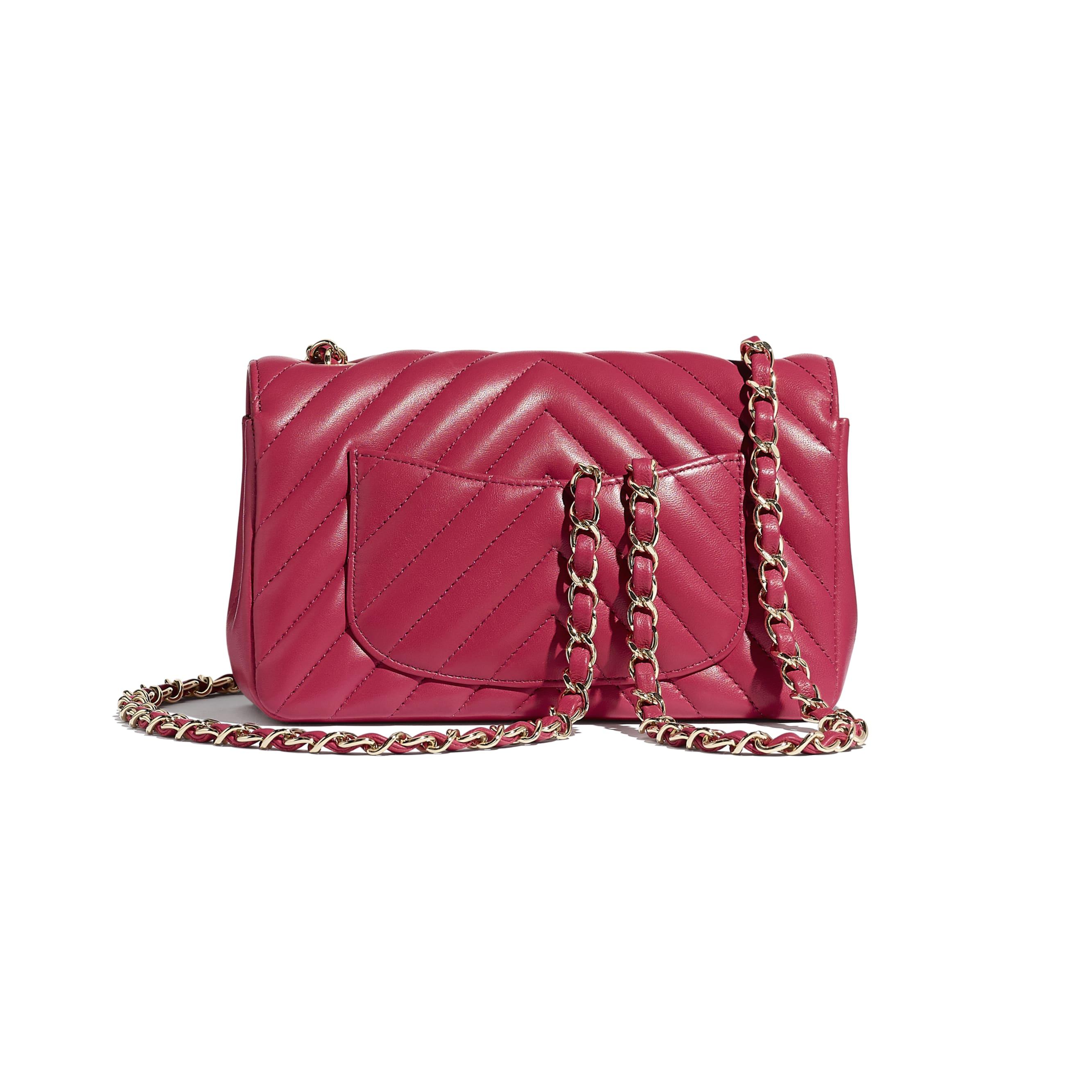 Mini Flap Bag - Dark Pink - Lambskin - Alternative view - see standard sized version