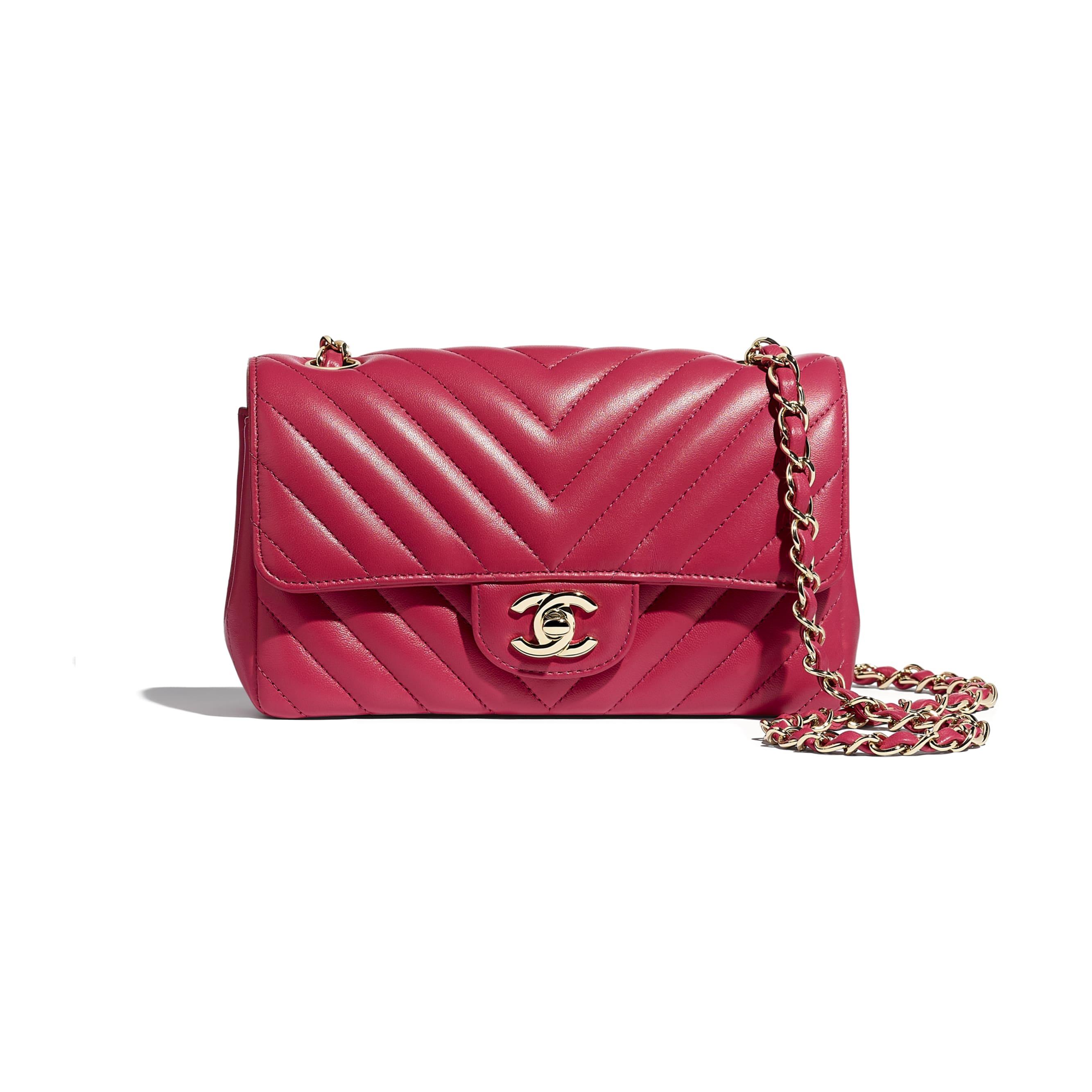 Mini Flap Bag - Dark Pink - Lambskin - Default view - see standard sized version