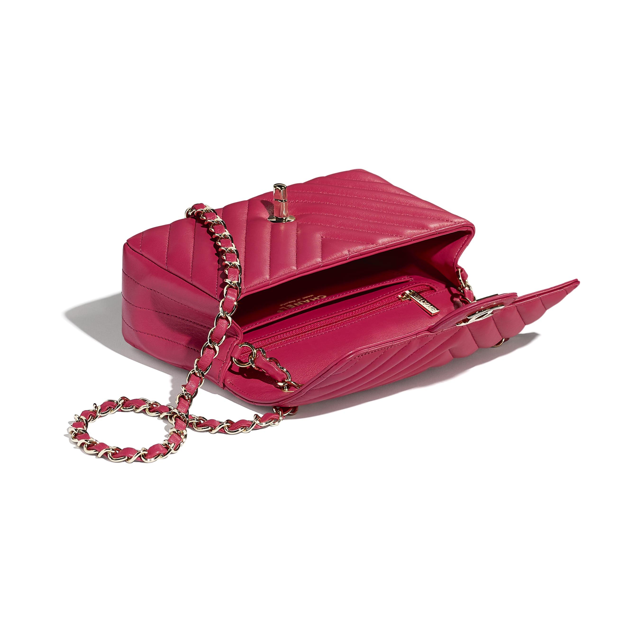 Mini Flap Bag - Dark Pink - Lambskin - Other view - see standard sized version