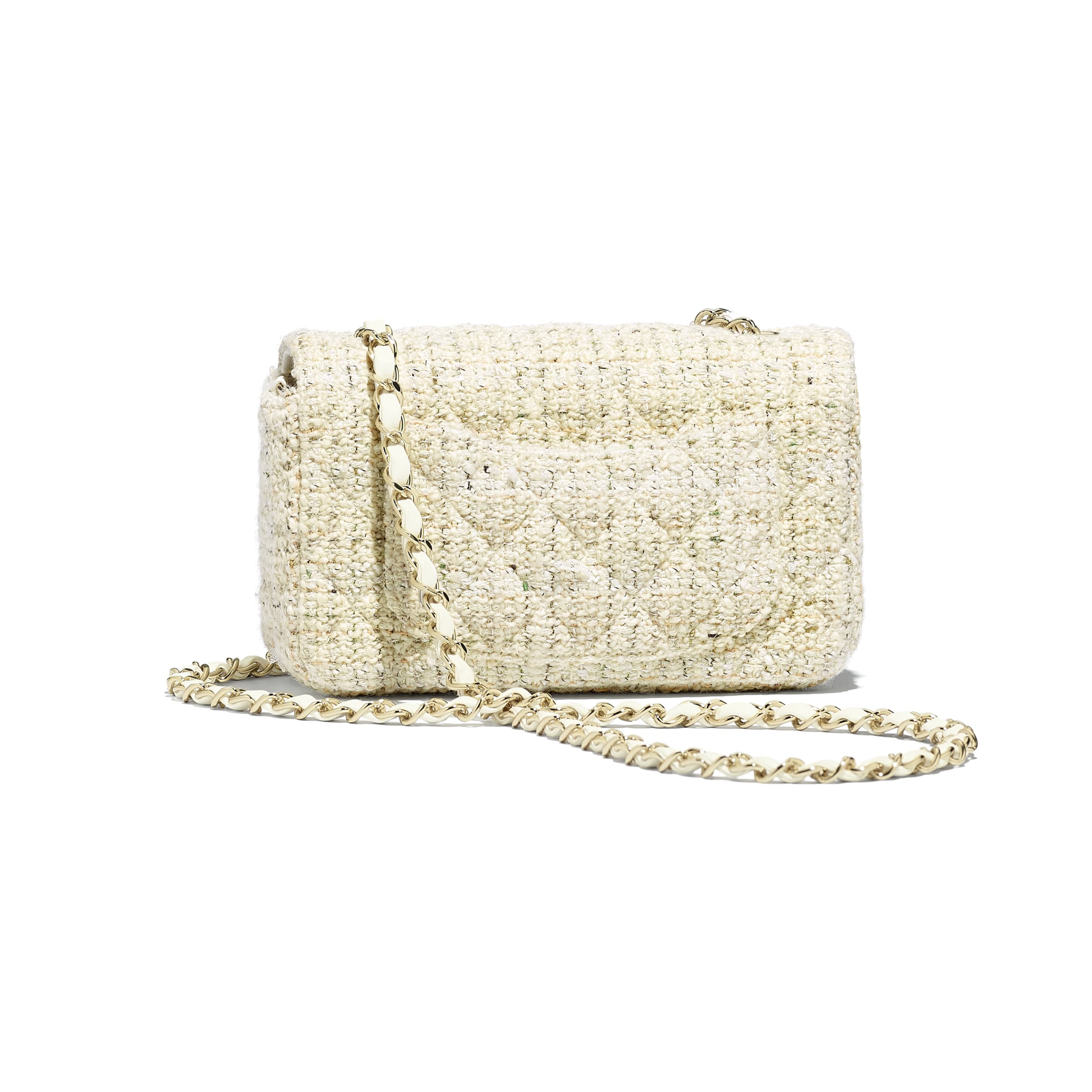 Mini Flap Bag - Ecru, white, green & gold - Tweed & Gold-Tone Metal - Alternative view - see standard sized version
