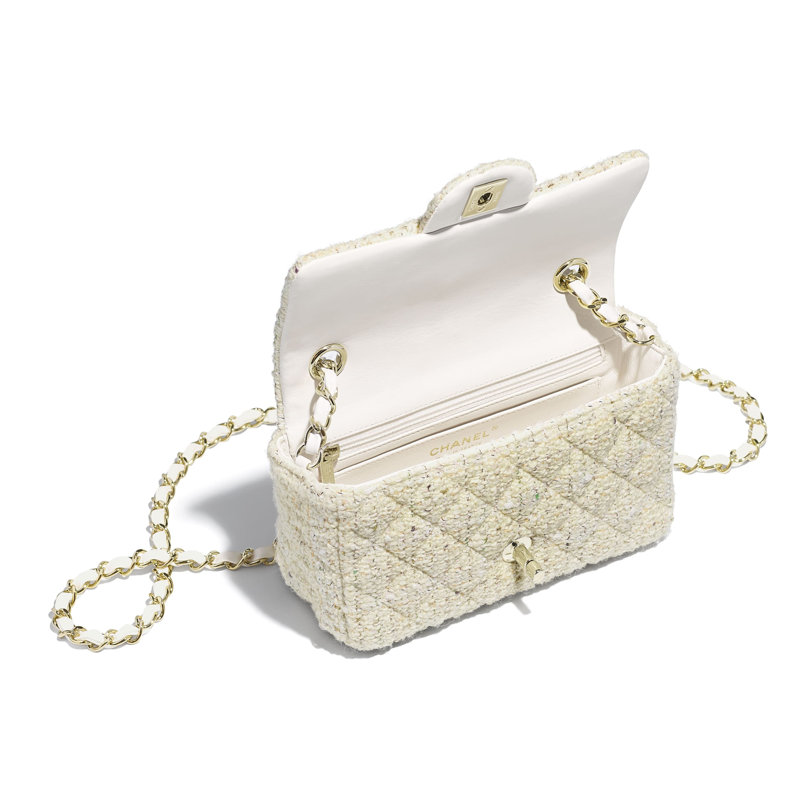 Mini Flap Bag - Ecru, white, green & gold - Tweed & Gold-Tone Metal - Other view - see standard sized version