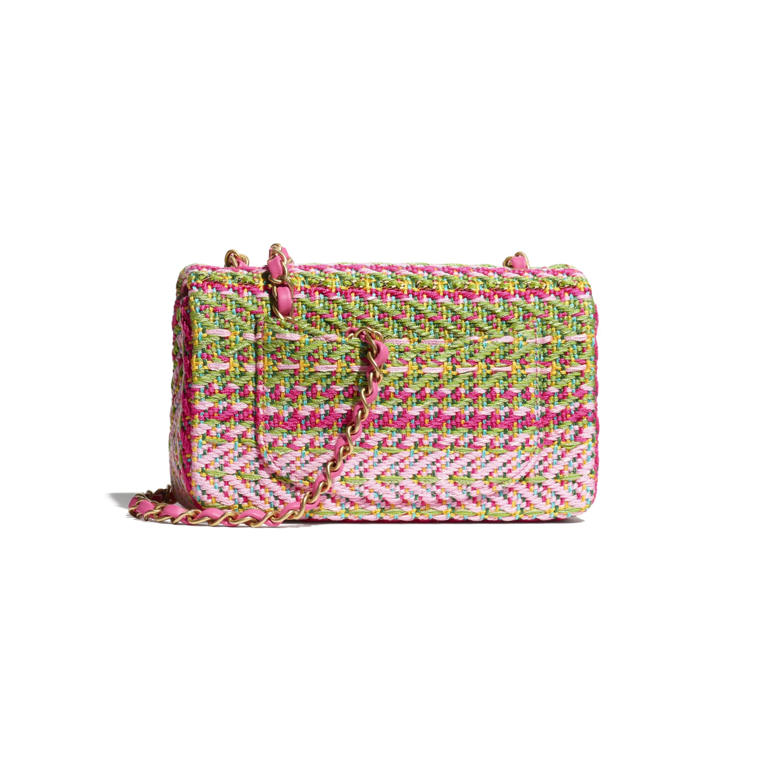 Mini Flap Bag - Fuchsia, Pale Rose, Green, Turquoise & Yellow - Cotton, Mixed Fibers & Gold-Tone Metal - CHANEL - Alternative view - see standard sized version