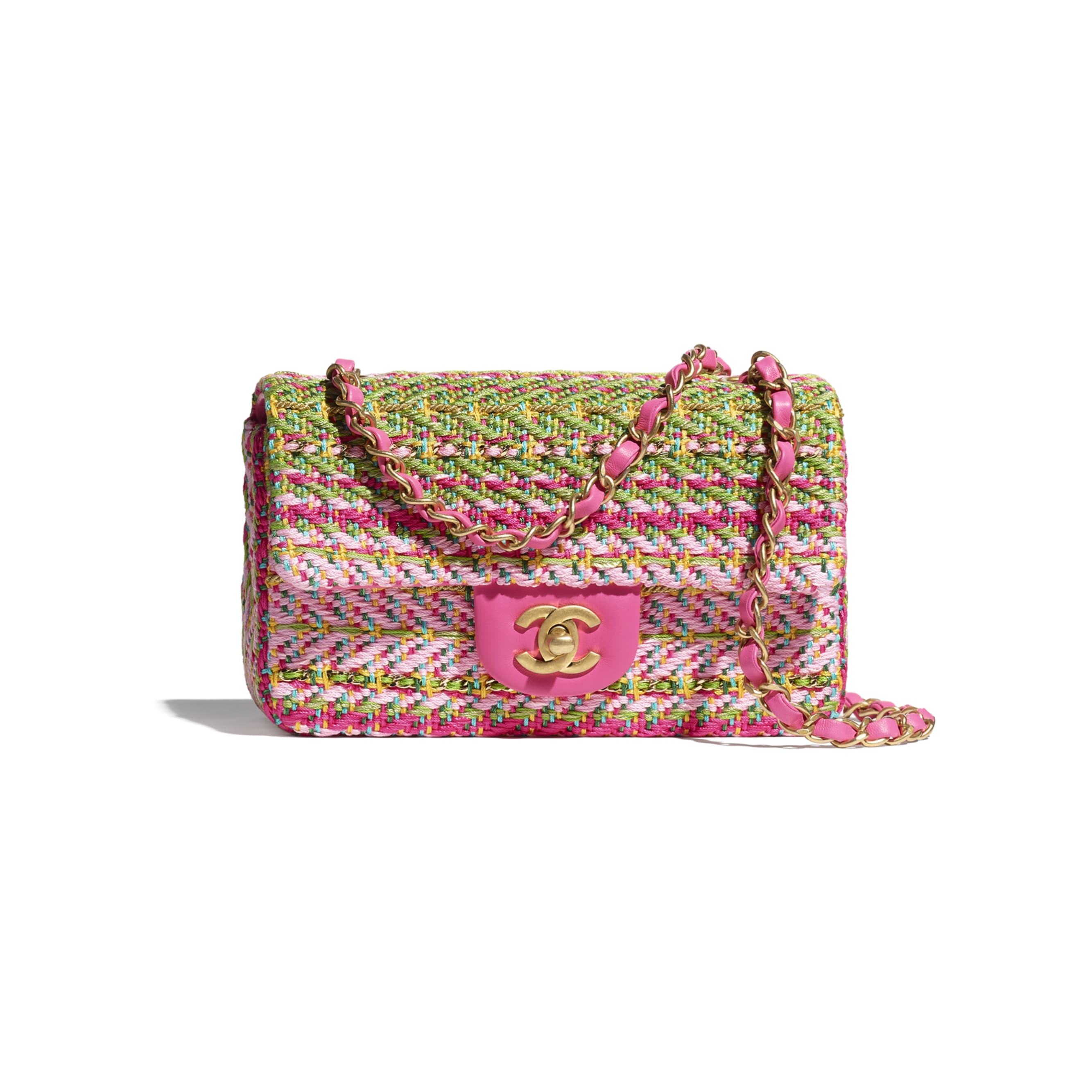 Mini Flap Bag - Fuchsia, Pale Rose, Green, Turquoise & Yellow - Cotton, Mixed Fibers & Gold-Tone Metal - CHANEL - Default view - see standard sized version