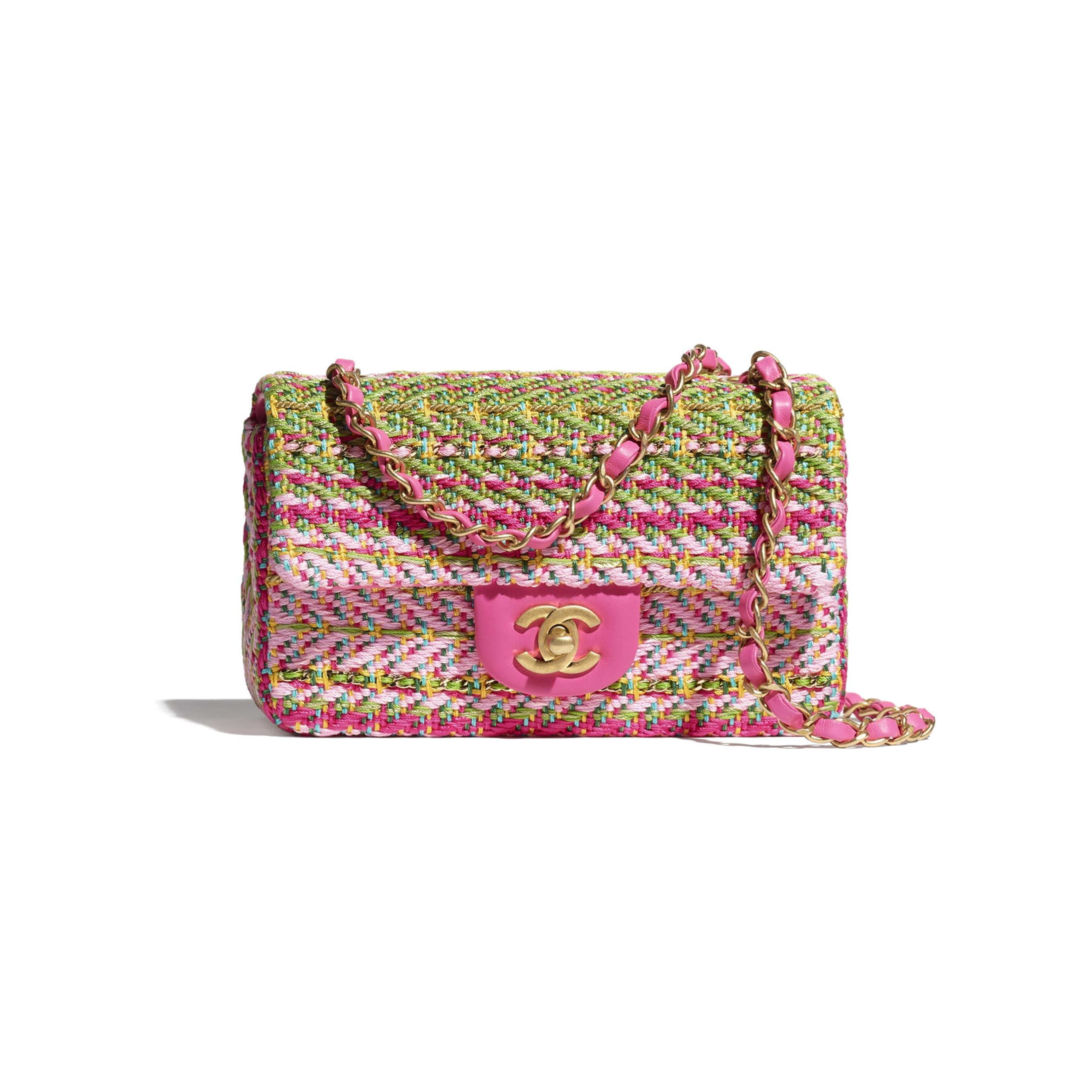 Bolsa Mini - Fúcsia, Rosa Claro, Verde, Turquesa & Amarelo - Algodão, Mix de Fibras & Metal Dourado - CHANEL - Vista predefinida - ver a versão em tamanho standard