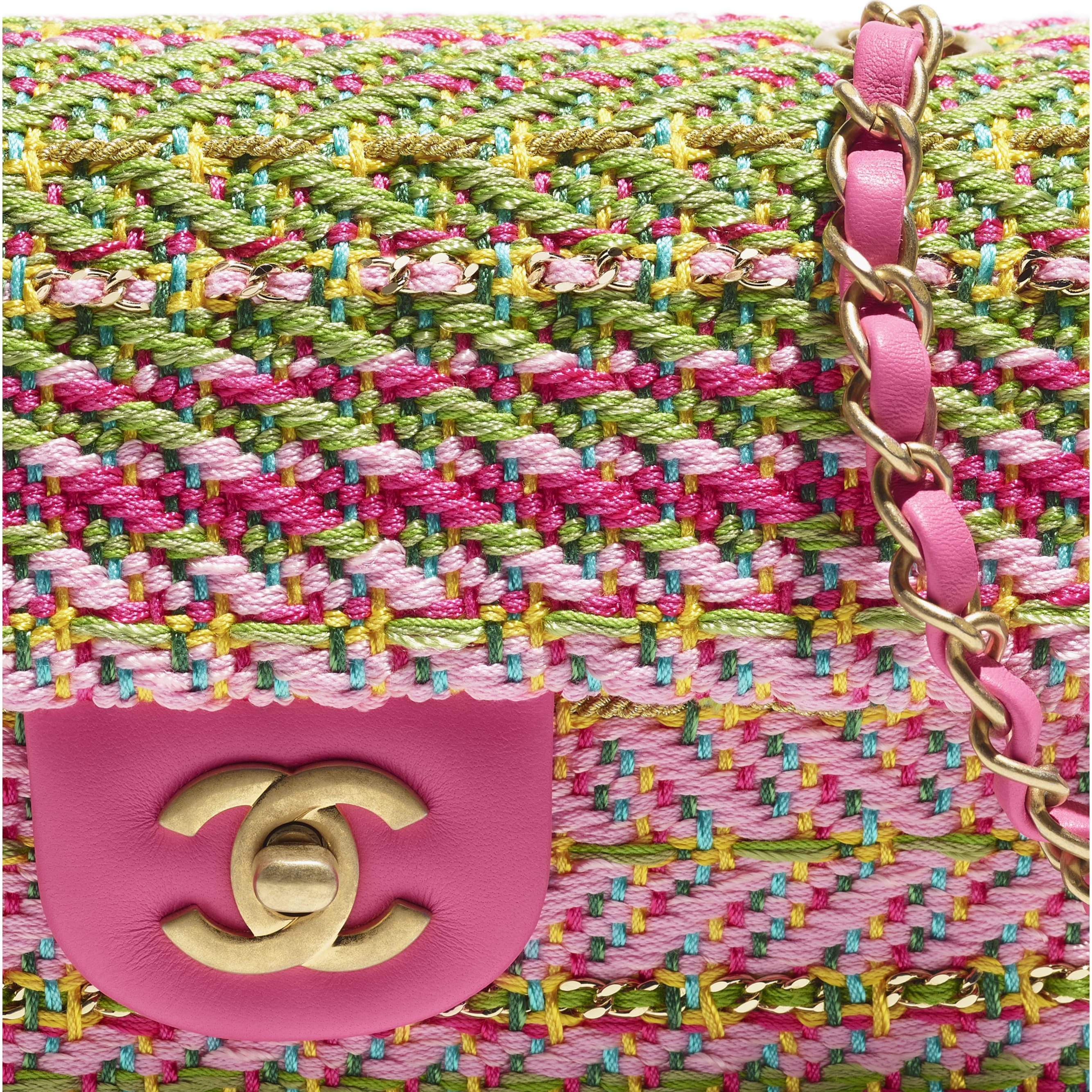 Mini Flap Bag - Fuchsia, Pale Rose, Green, Turquoise & Yellow - Cotton, Mixed Fibers & Gold-Tone Metal - CHANEL - Extra view - see standard sized version