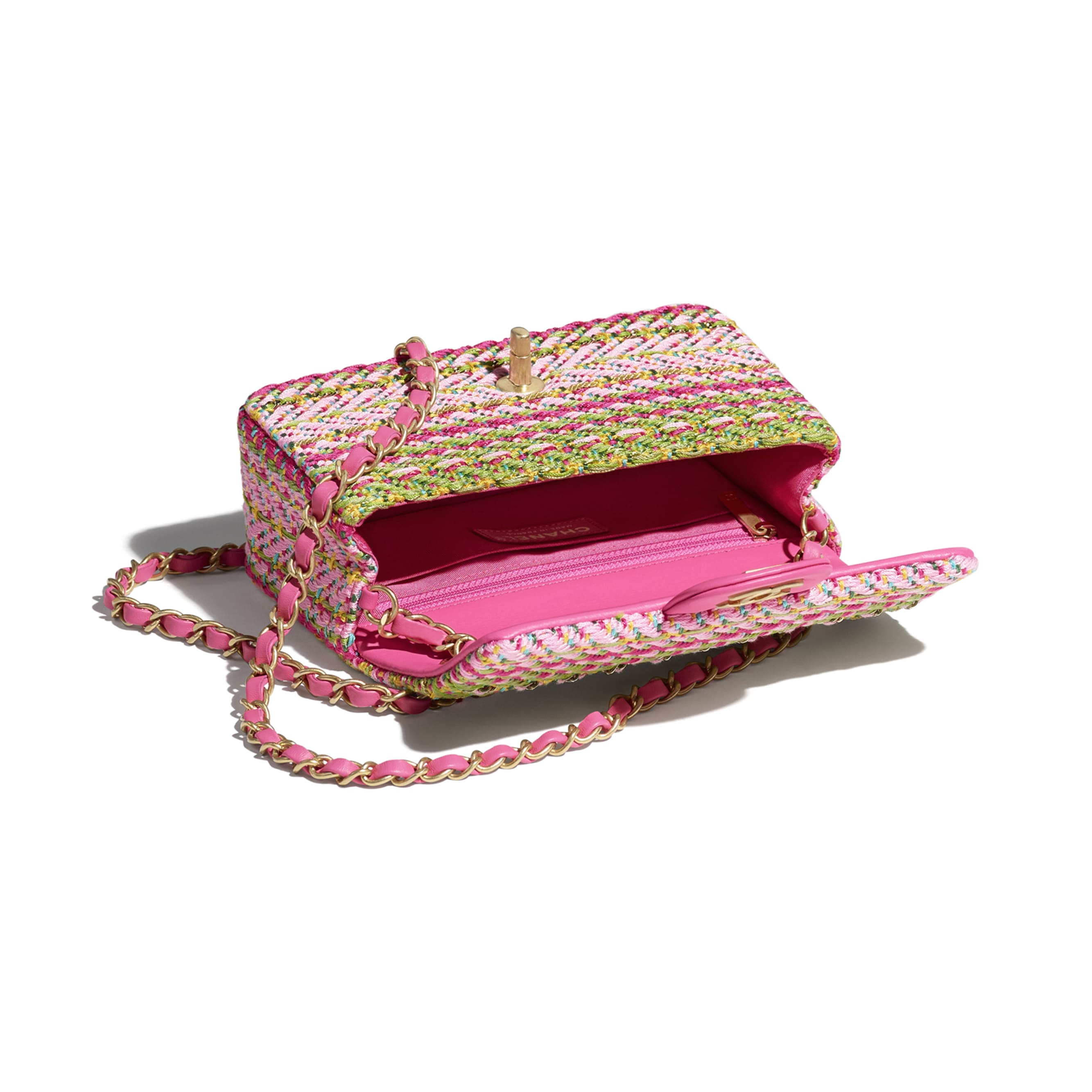Mini Flap Bag - Fuchsia, Pale Rose, Green, Turquoise & Yellow - Cotton, Mixed Fibers & Gold-Tone Metal - CHANEL - Other view - see standard sized version