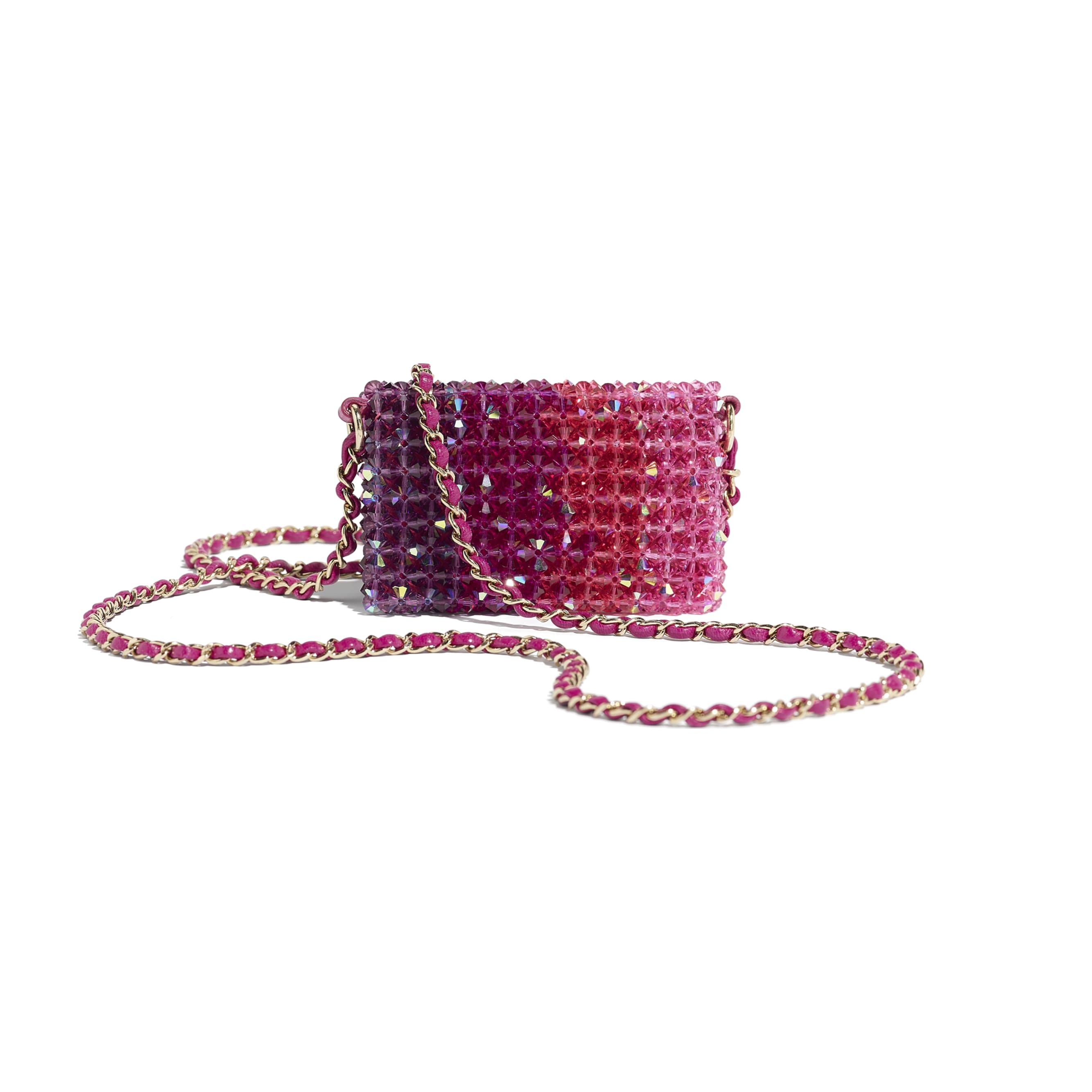 Mini Flap Bag - Fuchsia, Pink & Light Pink - Crystal & Gold-Tone Metal - Alternative view - see standard sized version