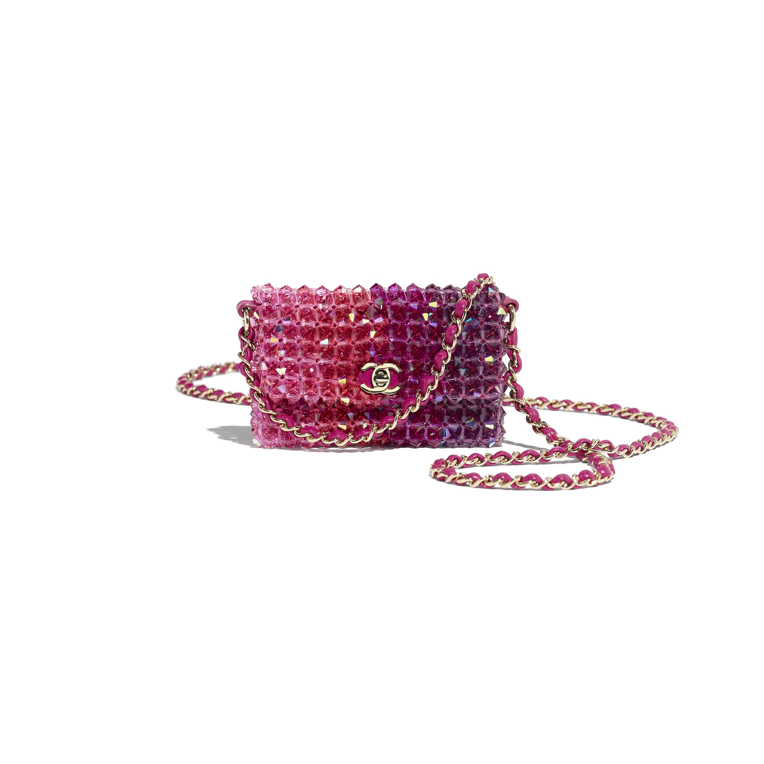 Mini Flap Bag - Fuchsia, Pink & Light Pink - Crystal & Gold-Tone Metal - Default view - see standard sized version