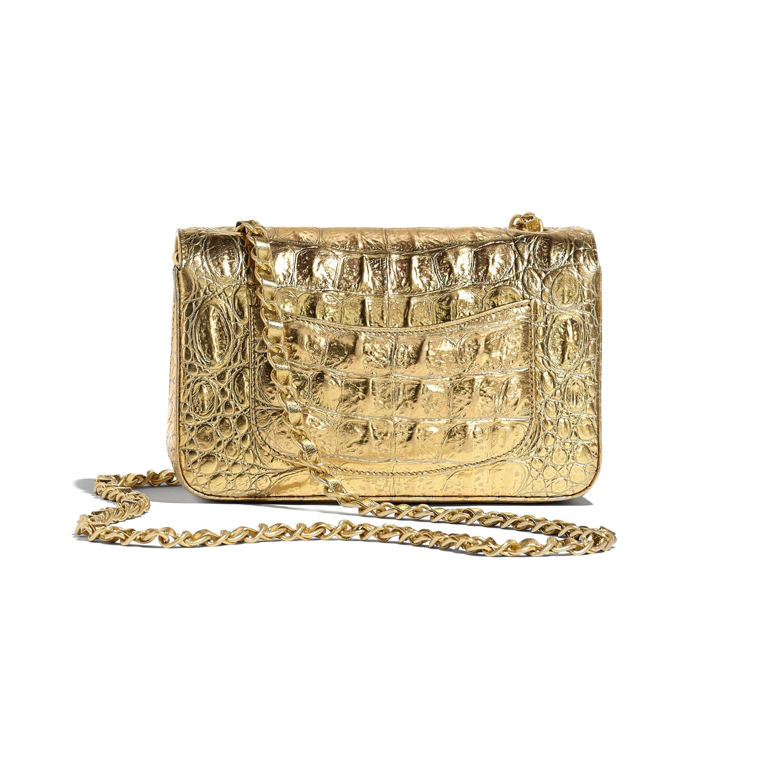 Mini Flap Bag - Gold - Metallic Crocodile Embossed Calfskin & Gold Metal - Alternative view - see standard sized version