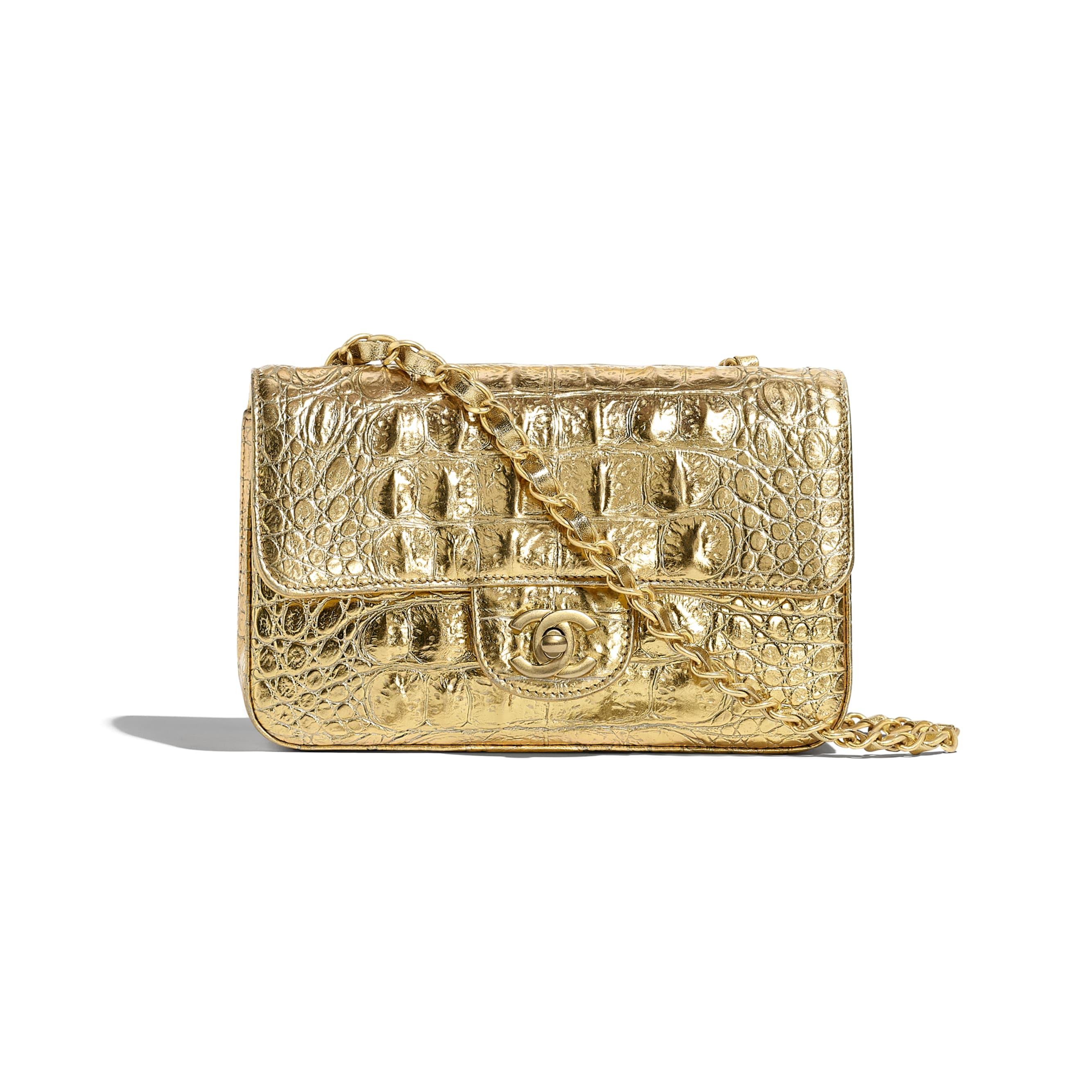 Mini Flap Bag - Gold - Metallic Crocodile Embossed Calfskin & Gold Metal - Default view - see standard sized version