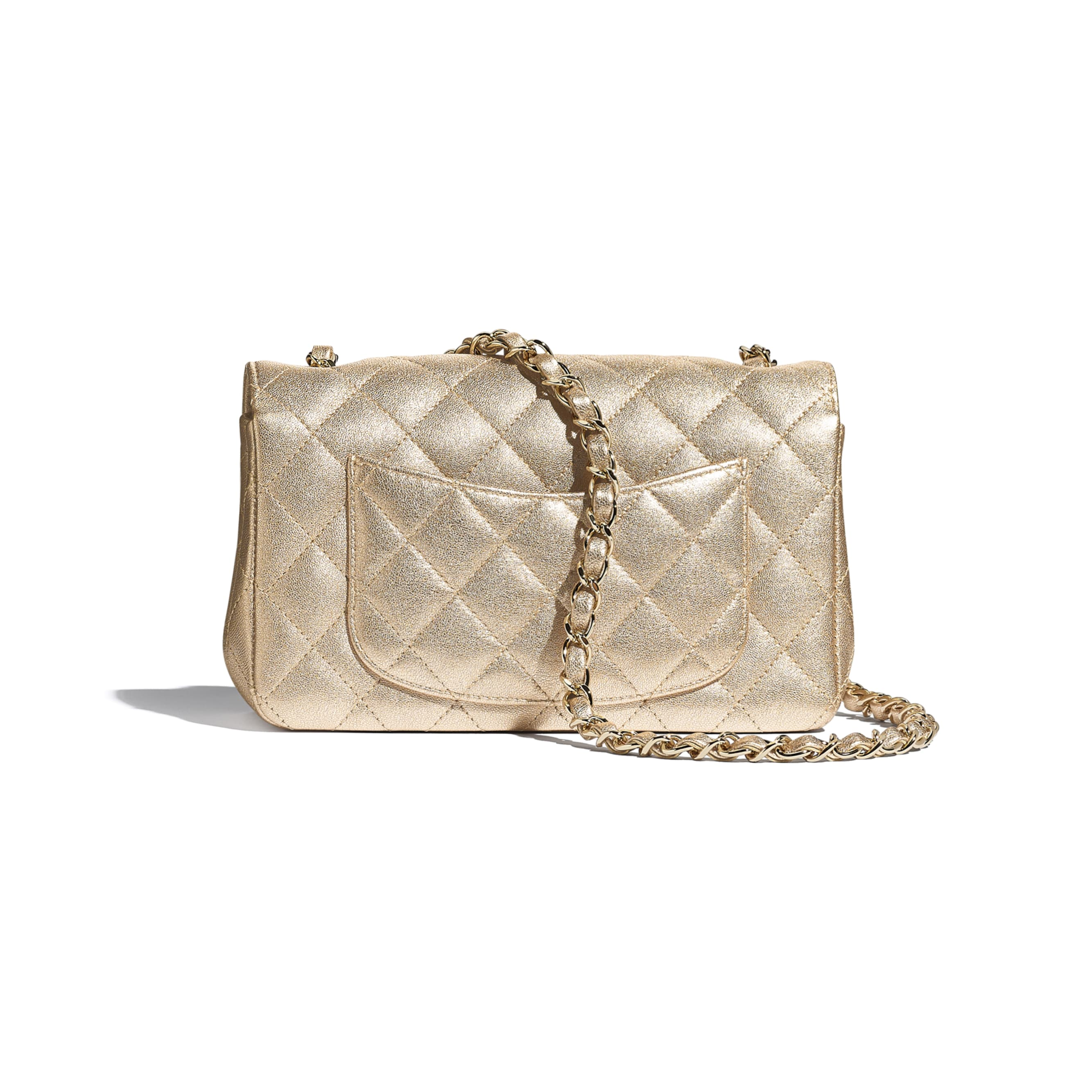 Mini Flap Bag - Gold - Metallic Lambskin & Gold Metal - CHANEL - Alternative view - see standard sized version