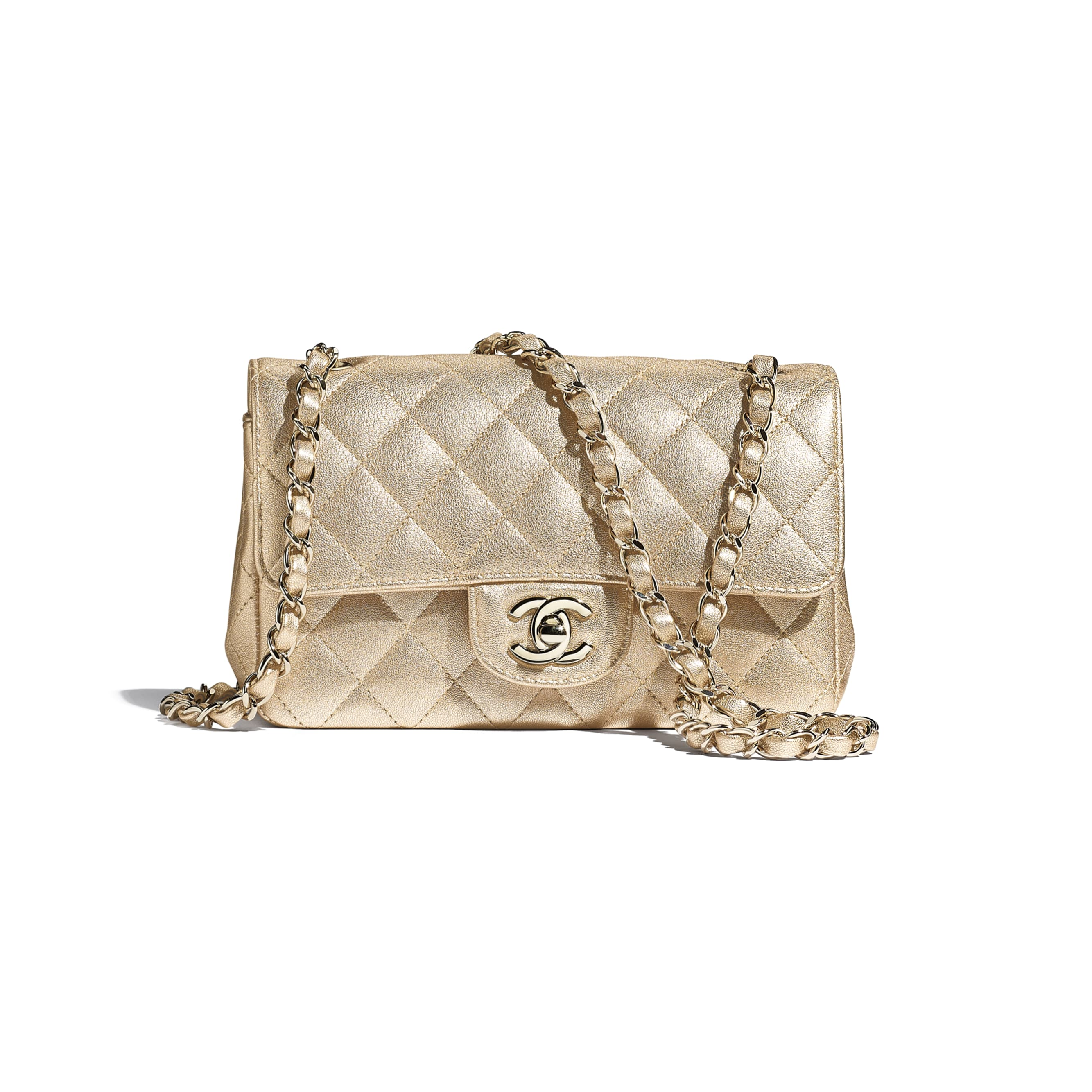 Mini Flap Bag - Gold - Metallic Lambskin & Gold Metal - CHANEL - Default view - see standard sized version
