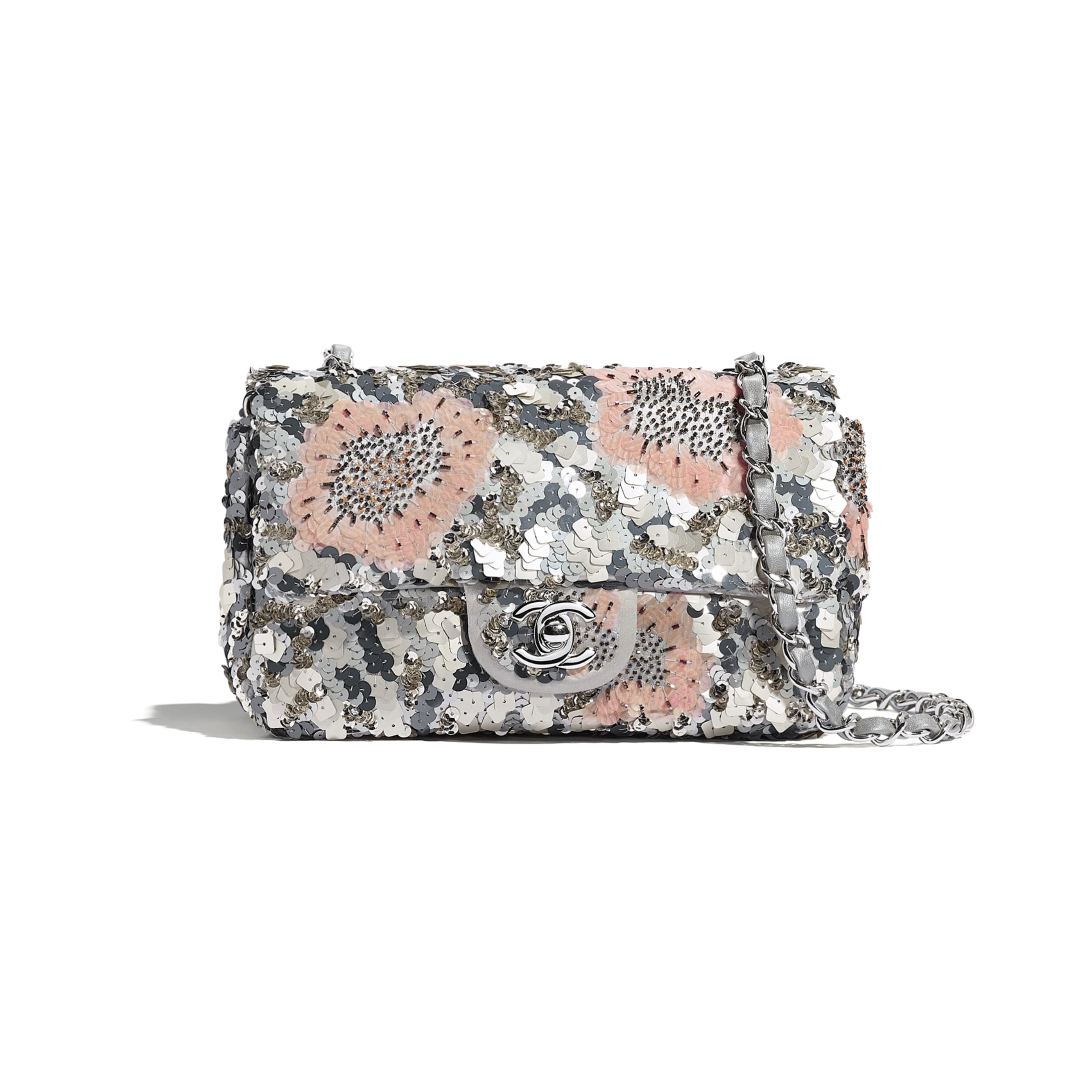 Mini Flap Bag - Gray, Silver & Pink - Sequins, Glass Pearls & Silver-Tone Metal - Default view - see standard sized version