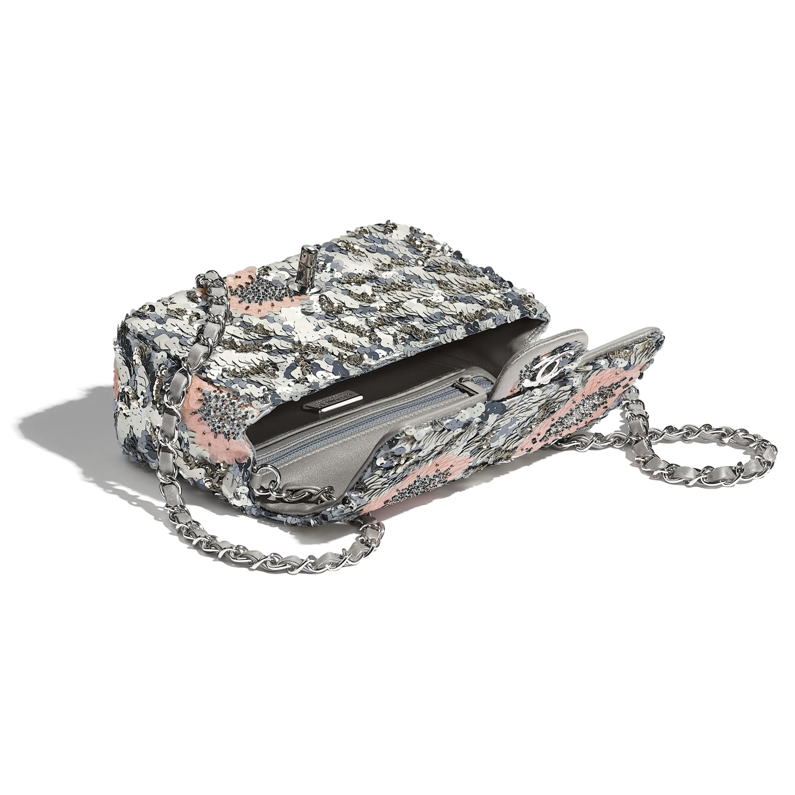 Mini Flap Bag - Gray, Silver & Pink - Sequins, Glass Pearls & Silver-Tone Metal - Other view - see standard sized version