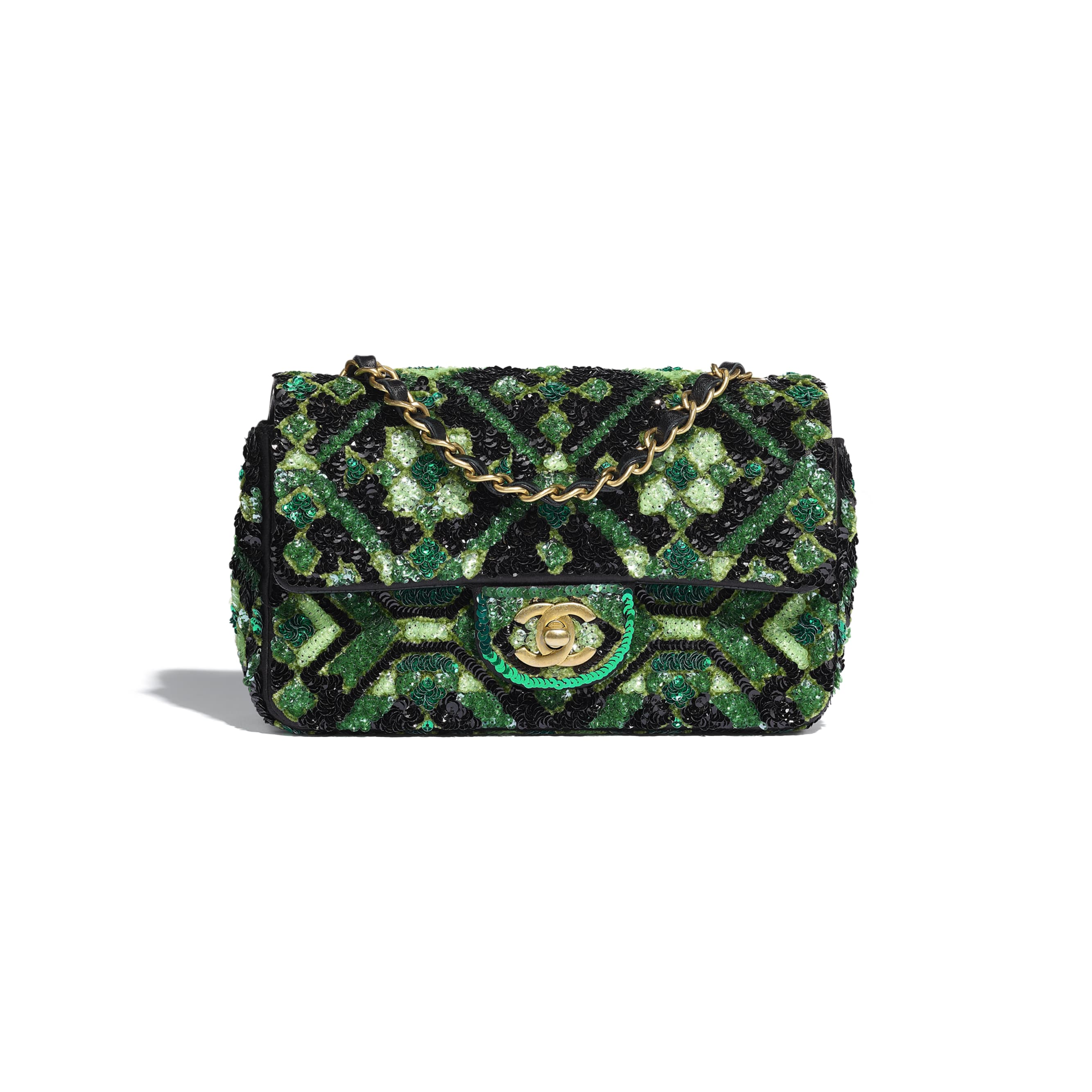Mini Flap Bag - Green & Black - Sequins & Gold-Tone Metal - CHANEL - Default view - see standard sized version