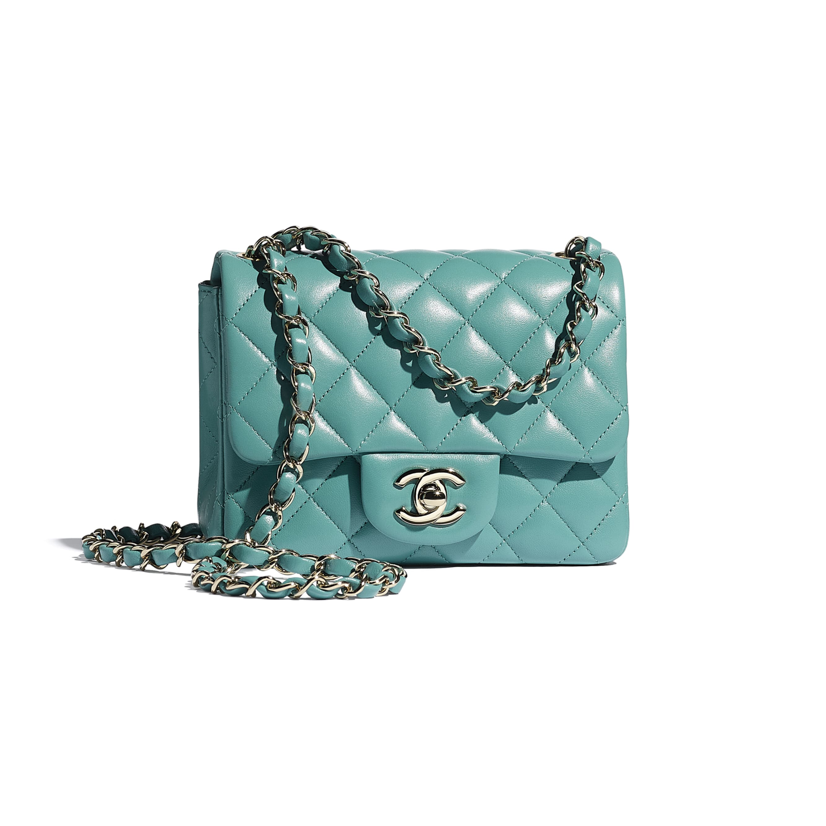 Mini Flap Bag - Green - Lambskin - CHANEL - Default view - see standard sized version