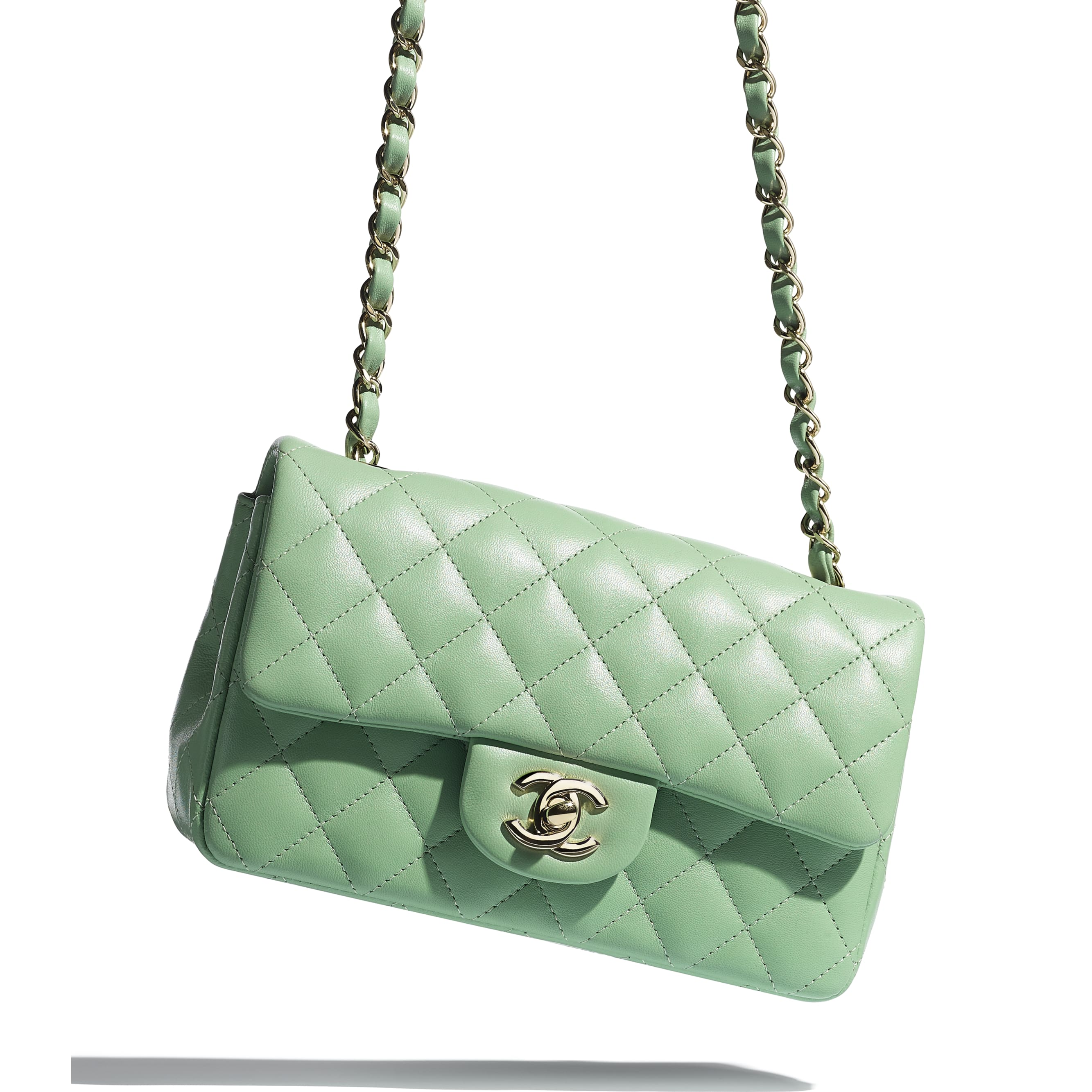 Mini Flap Bag - Green - Lambskin - CHANEL - Extra view - see standard sized version
