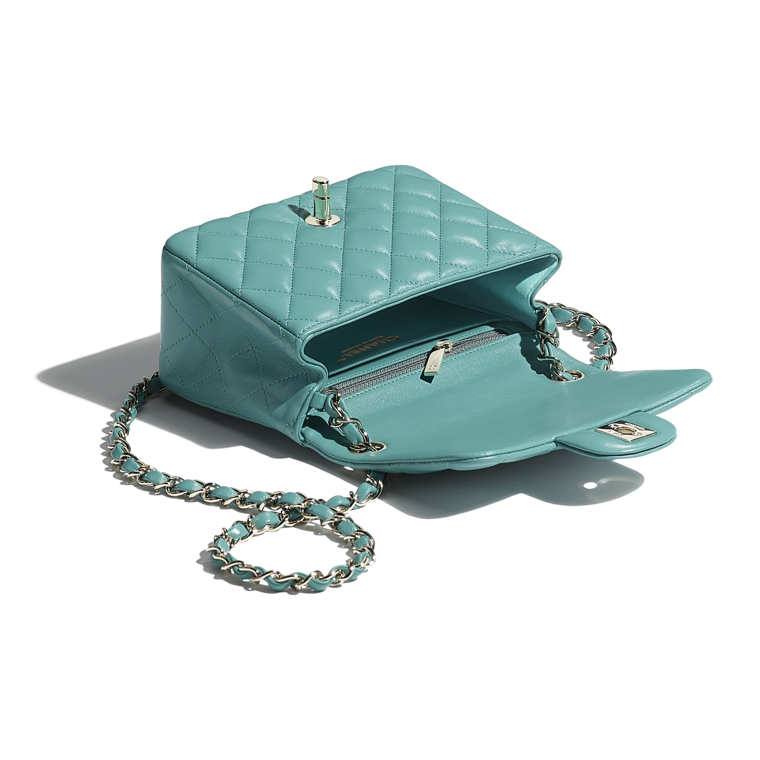 Mini Flap Bag - Green - Lambskin - CHANEL - Other view - see standard sized version