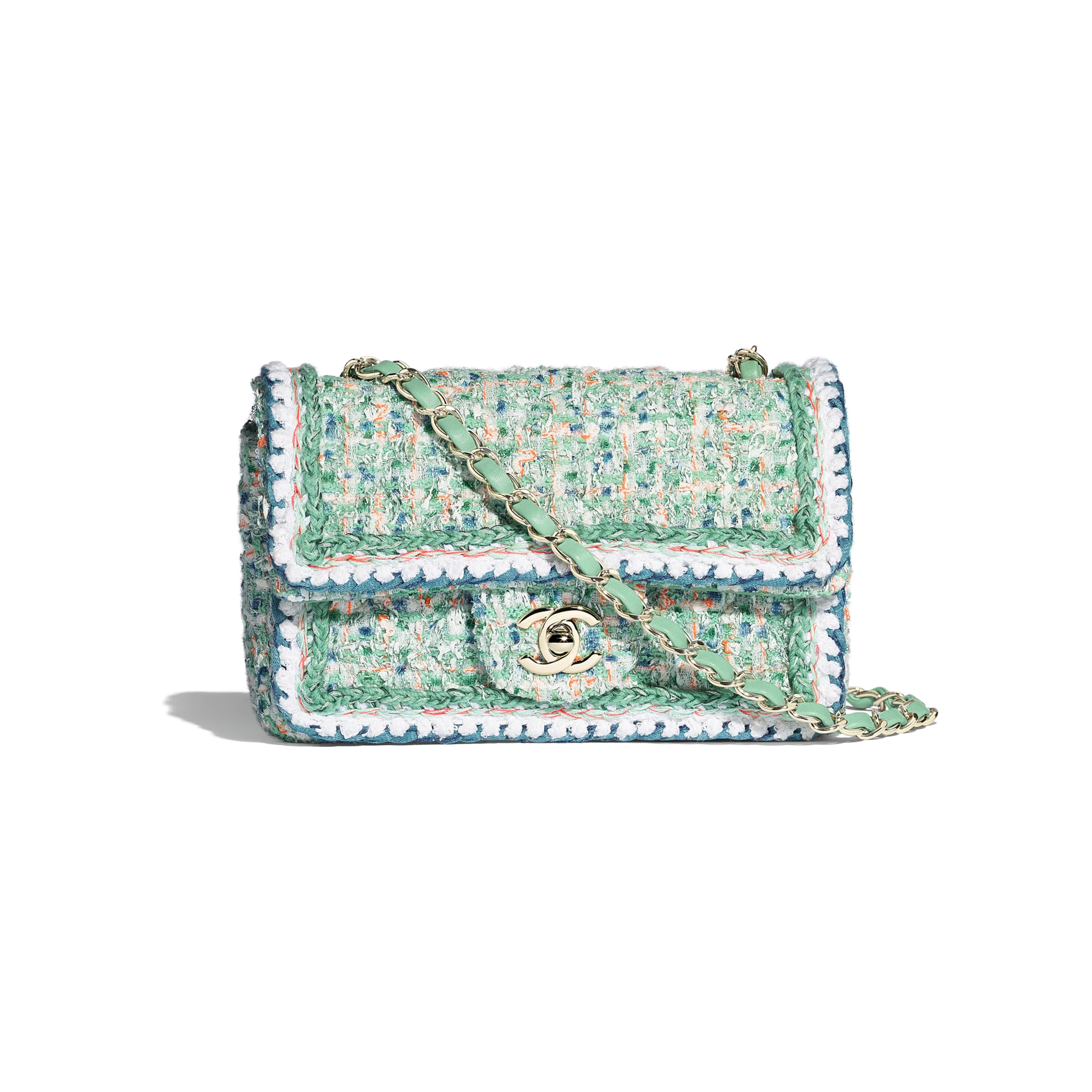 Mini Flap Bag - Green, White, Blue & Orange - Tweed & Gold-Tone Metal - Default view - see standard sized version