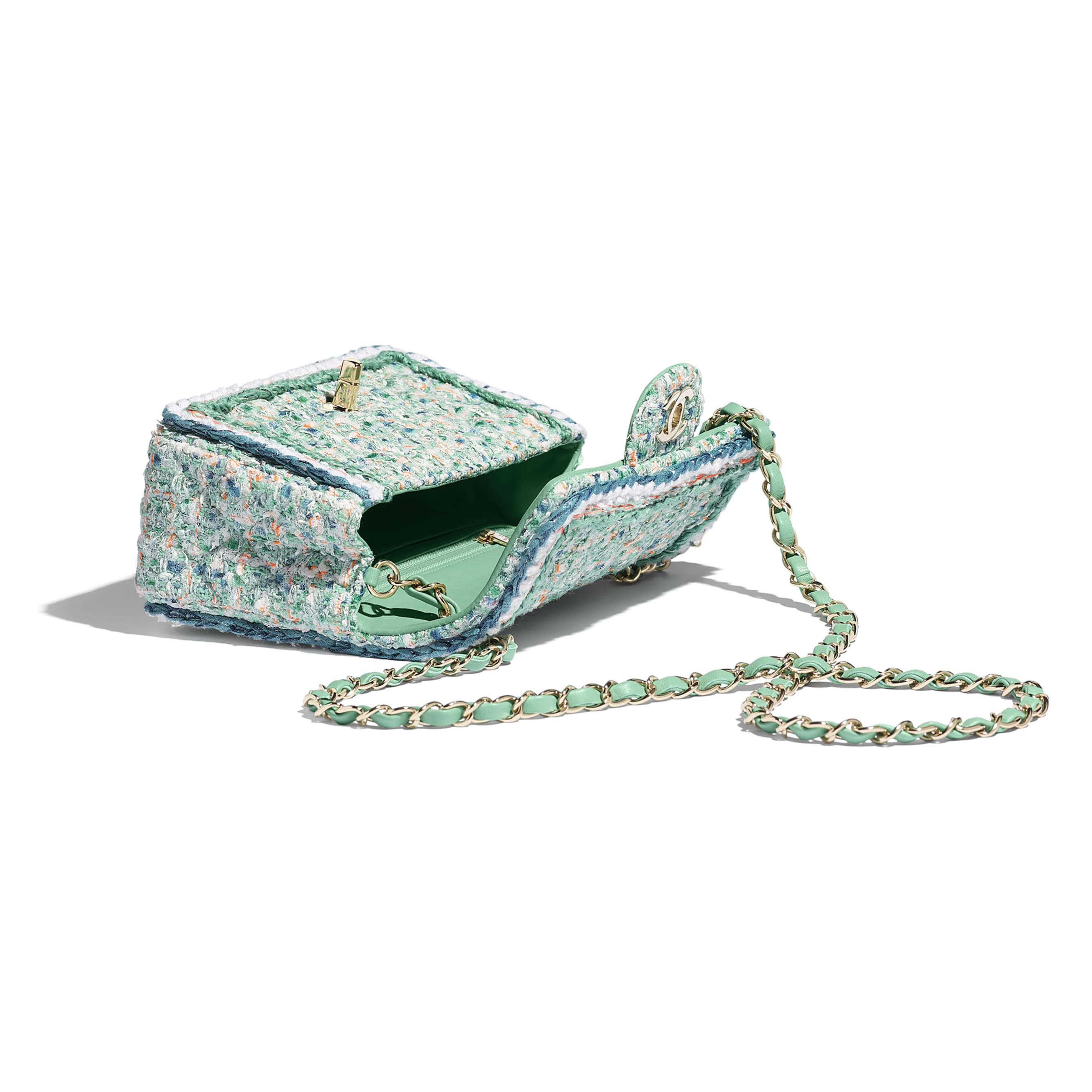 Mini Flap Bag - Green, White, Blue & Orange - Tweed & Gold-Tone Metal - Other view - see standard sized version