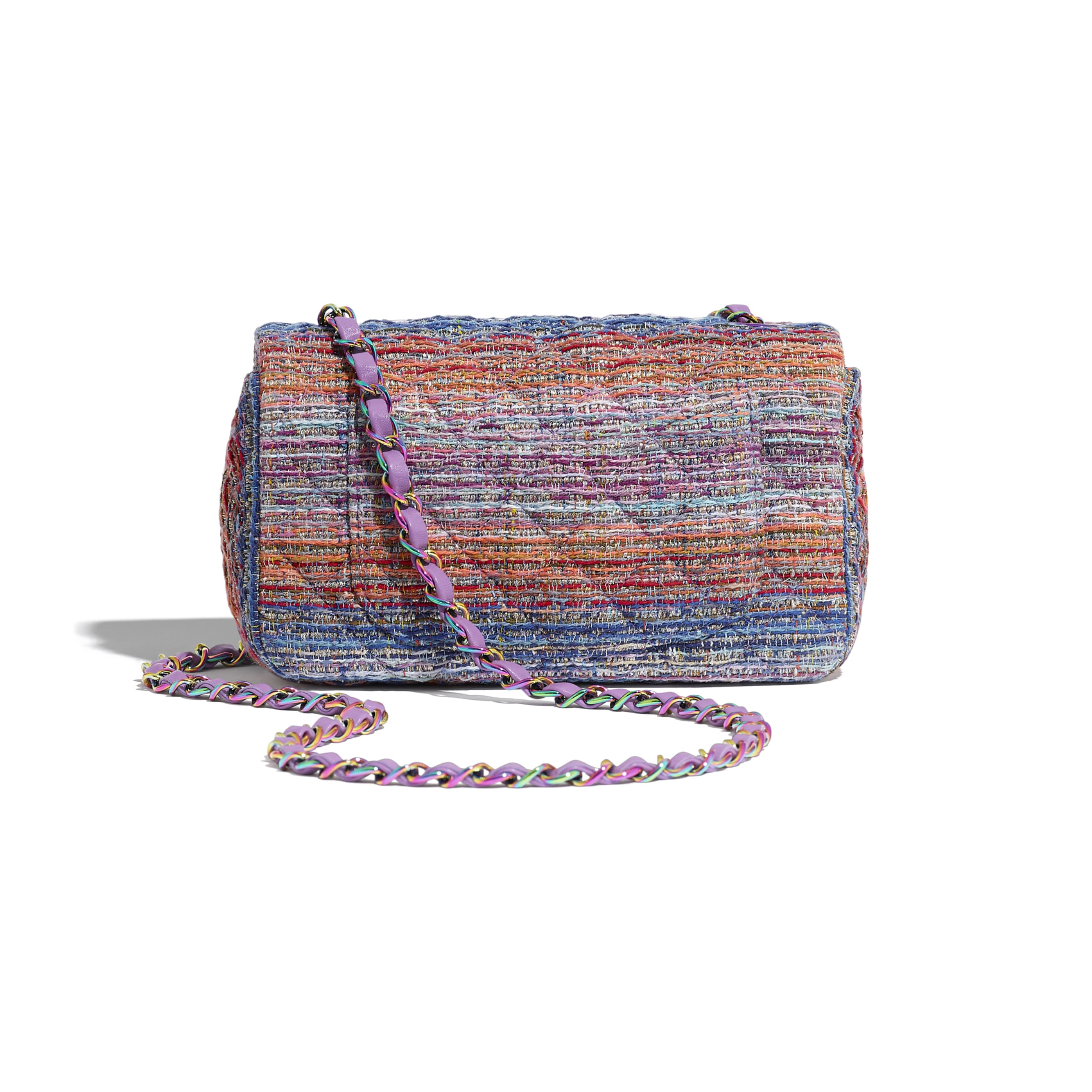 Mini Flap Bag - Multicolour - Tweed & Rainbow Metal - Alternative view - see standard sized version