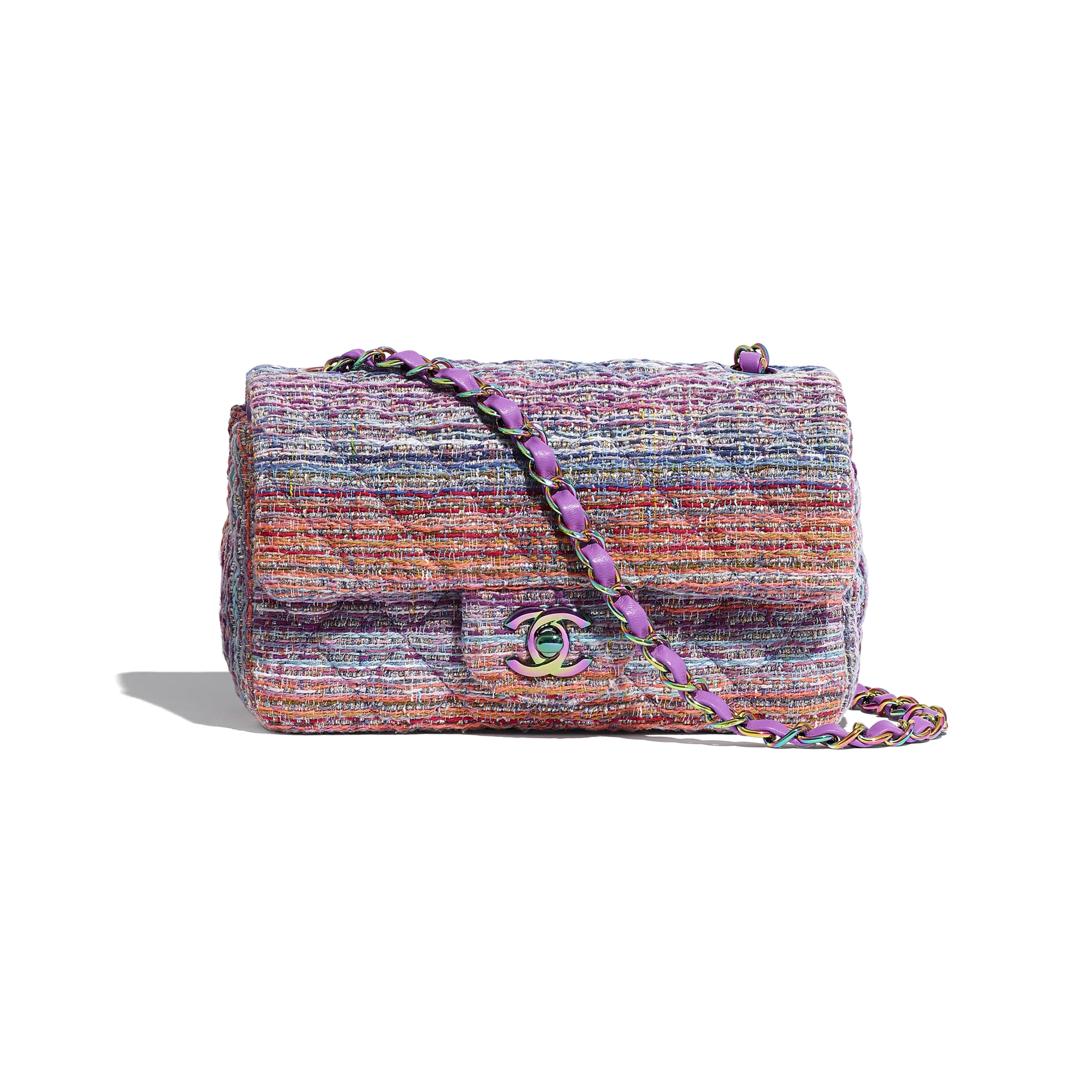Mini Flap Bag - Multicolour - Tweed & Rainbow Metal - Default view - see standard sized version