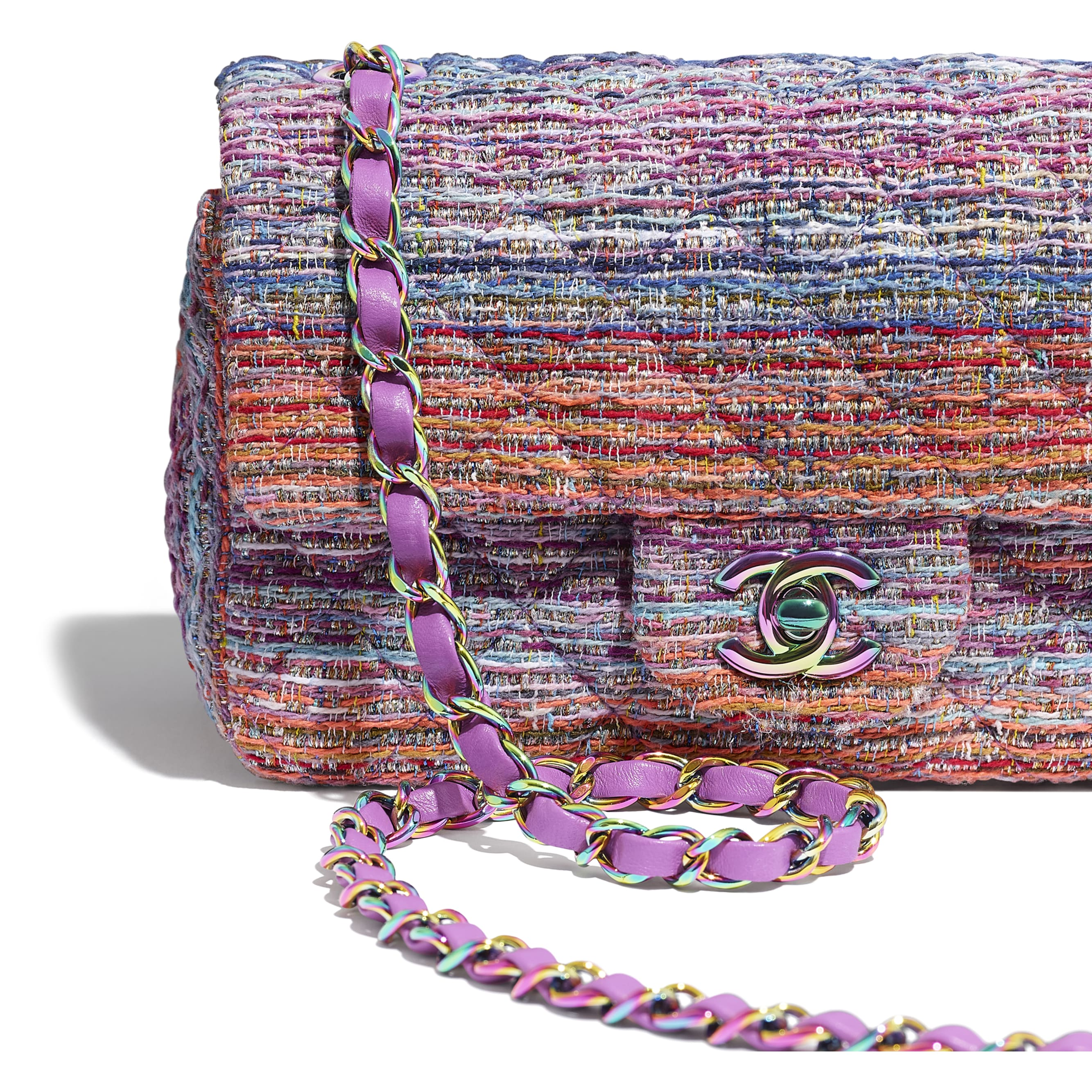 Mini Flap Bag - Multicolour - Tweed & Rainbow Metal - Extra view - see standard sized version
