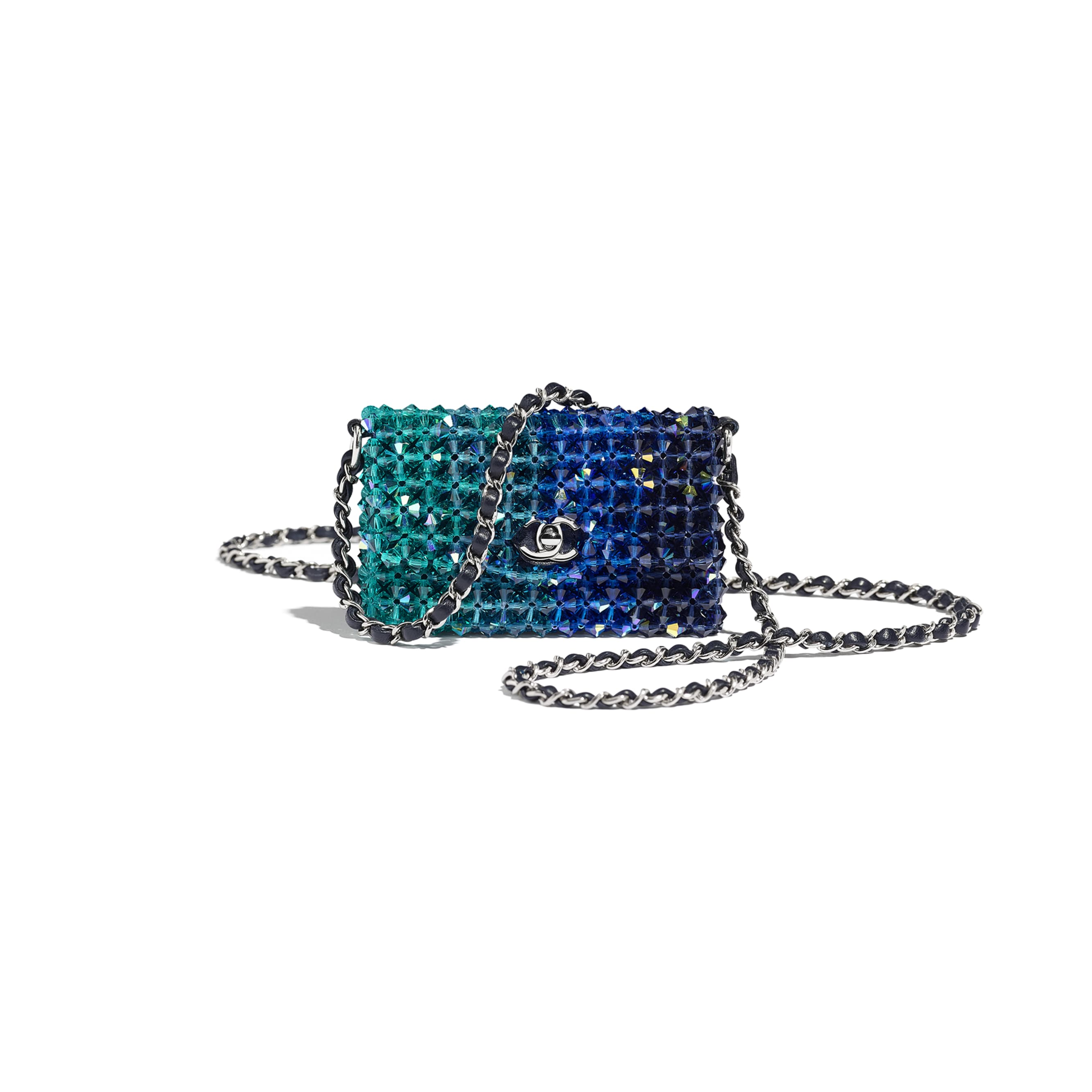 Mini Flap Bag - Navy Blue - Crystal & Silver-Tone Metal - Default view - see standard sized version