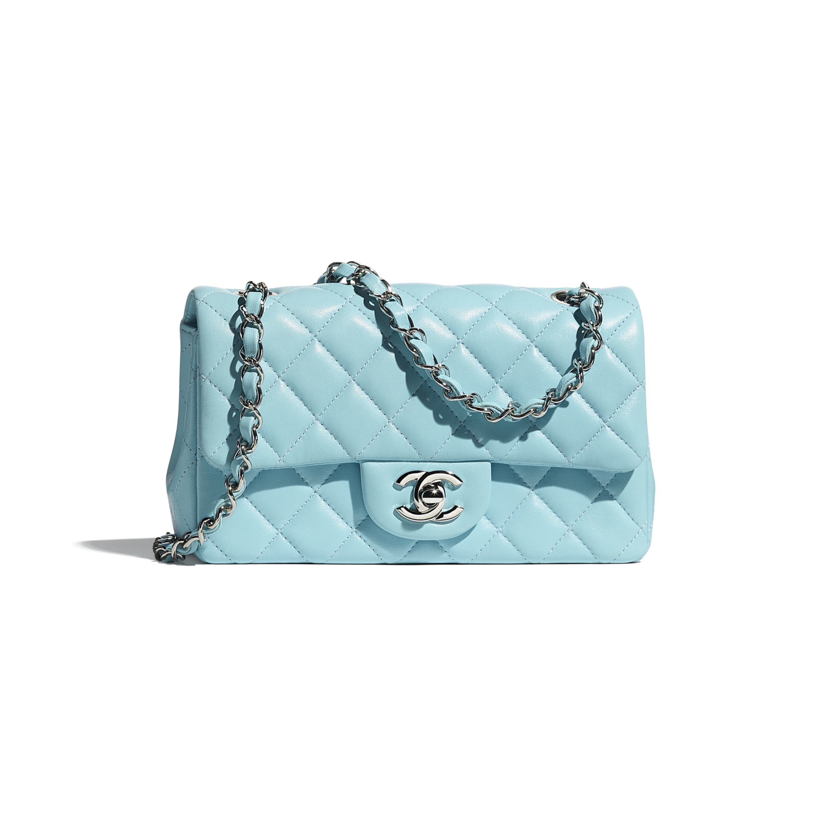 Mini Flap Bag - Neon Blue - Lambskin - CHANEL - Default view - see standard sized version
