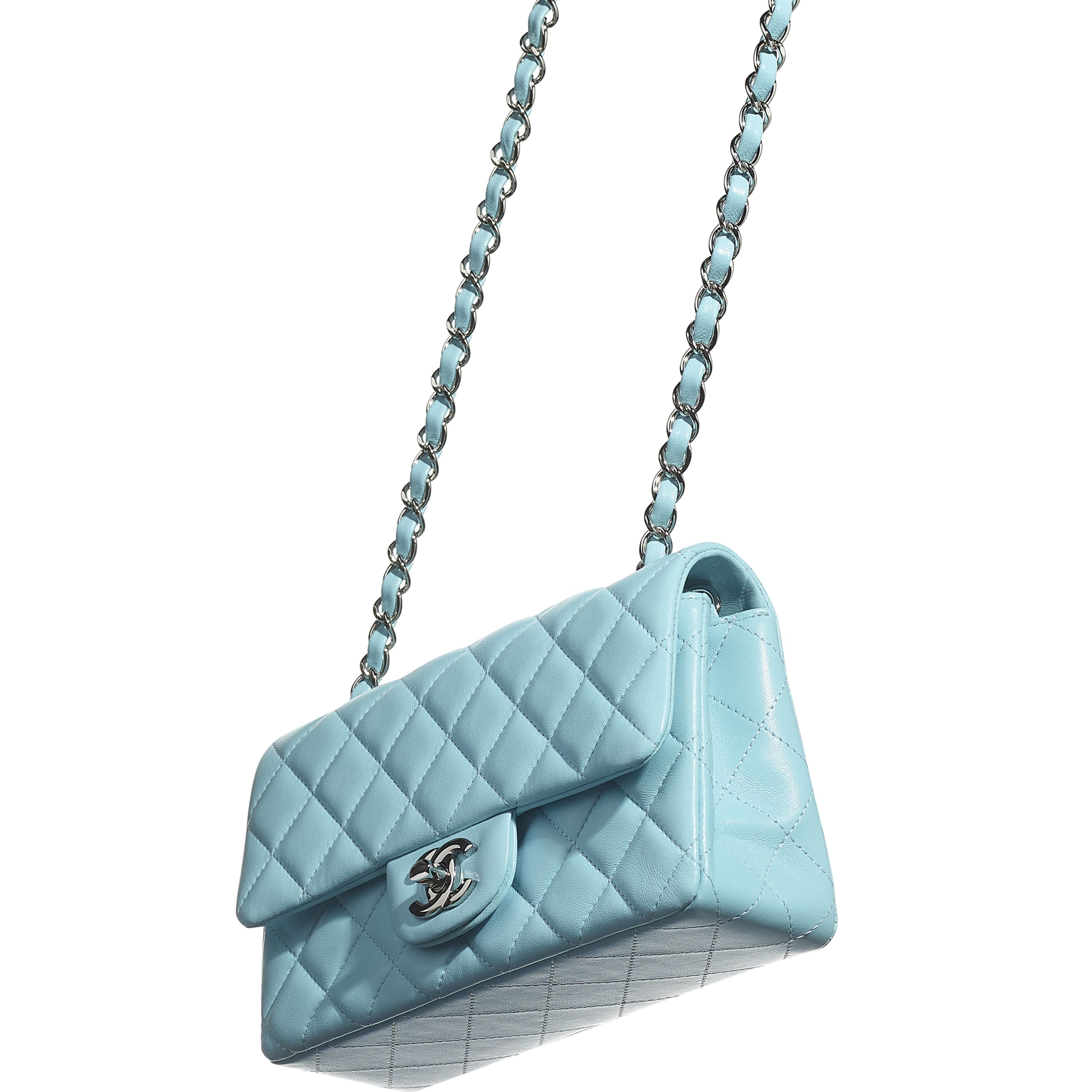 Mini Flap Bag - Neon Blue - Lambskin - CHANEL - Extra view - see standard sized version