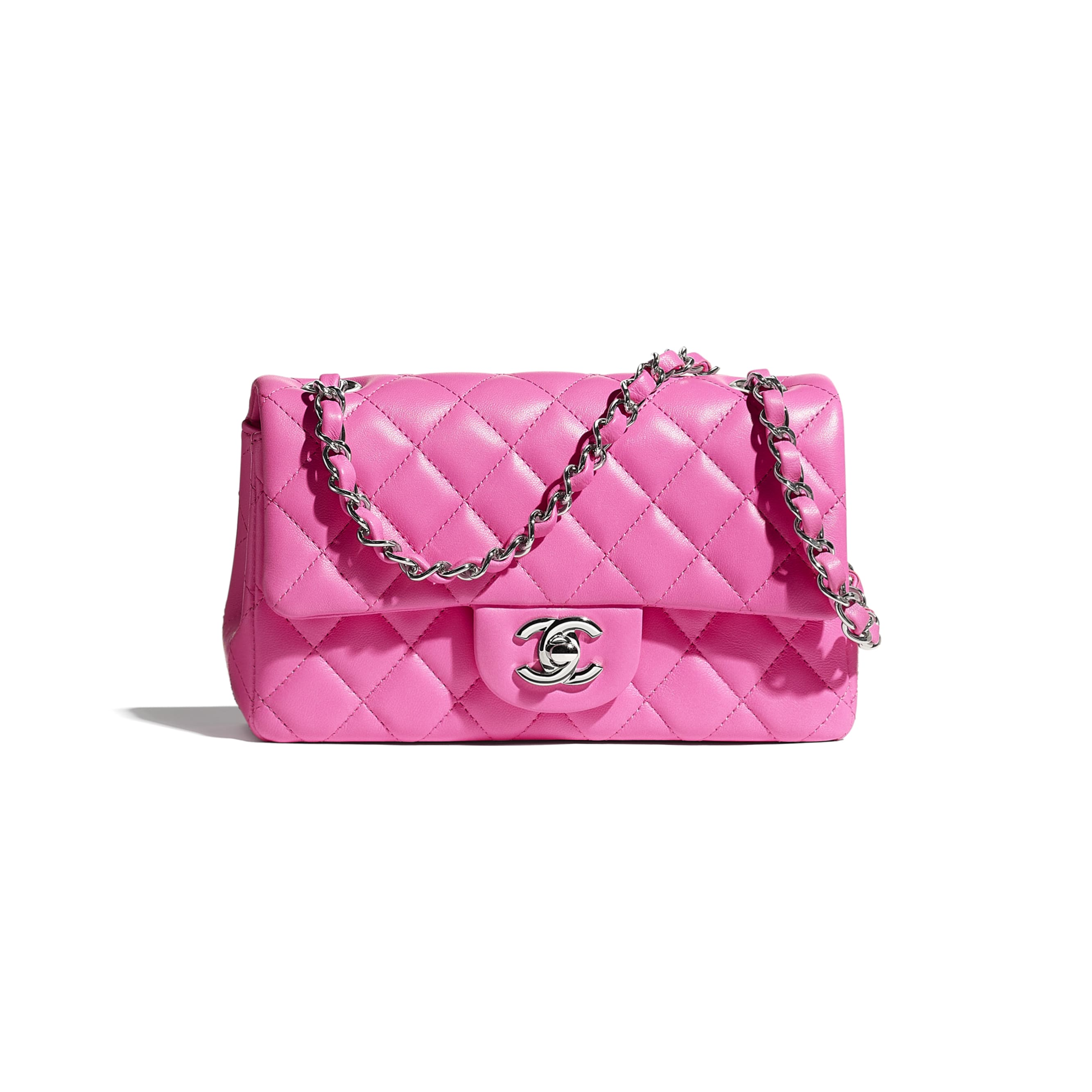 Mini Flap Bag - Neon Pink - Lambskin - CHANEL - Default view - see standard sized version