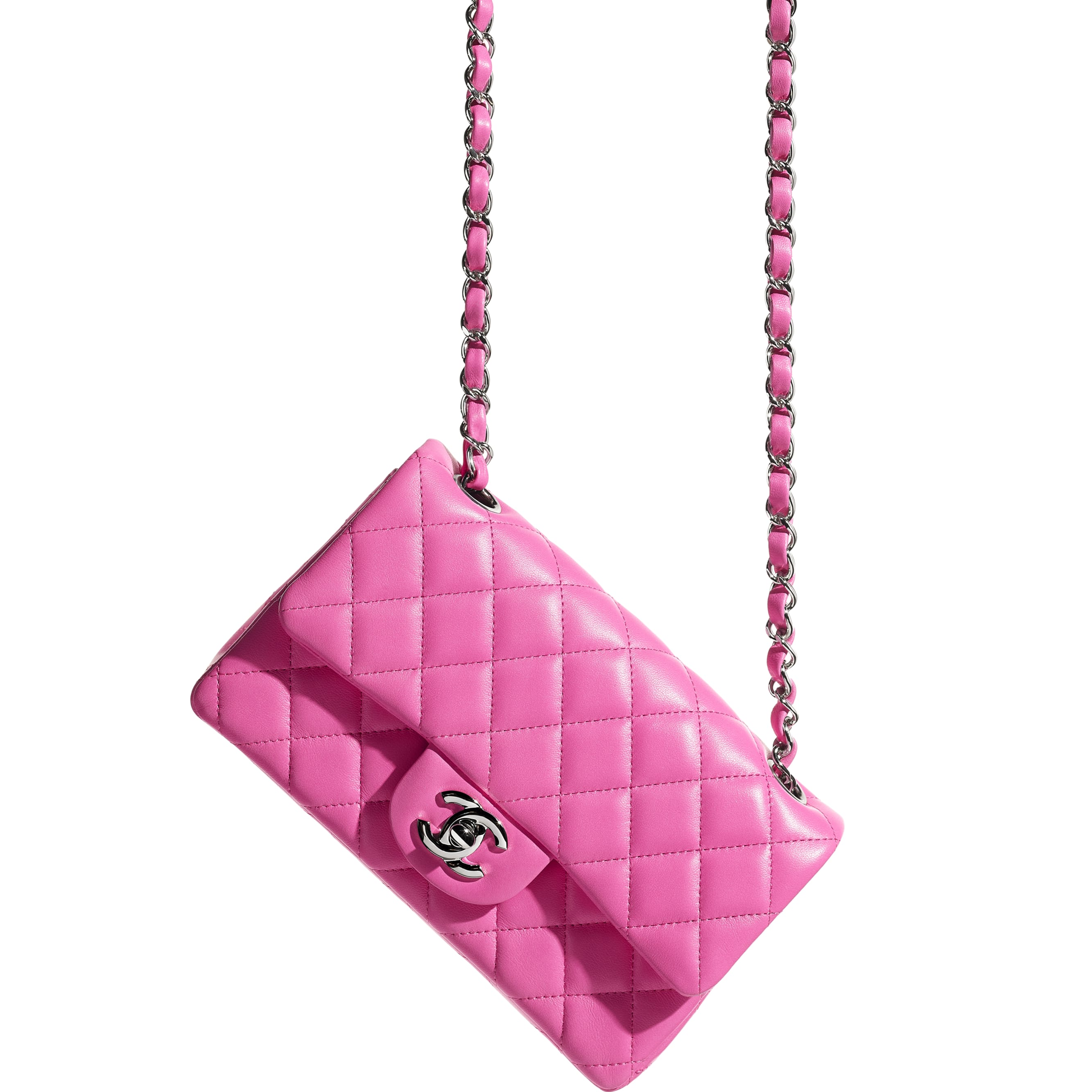 Mini Flap Bag - Neon Pink - Lambskin - CHANEL - Extra view - see standard sized version
