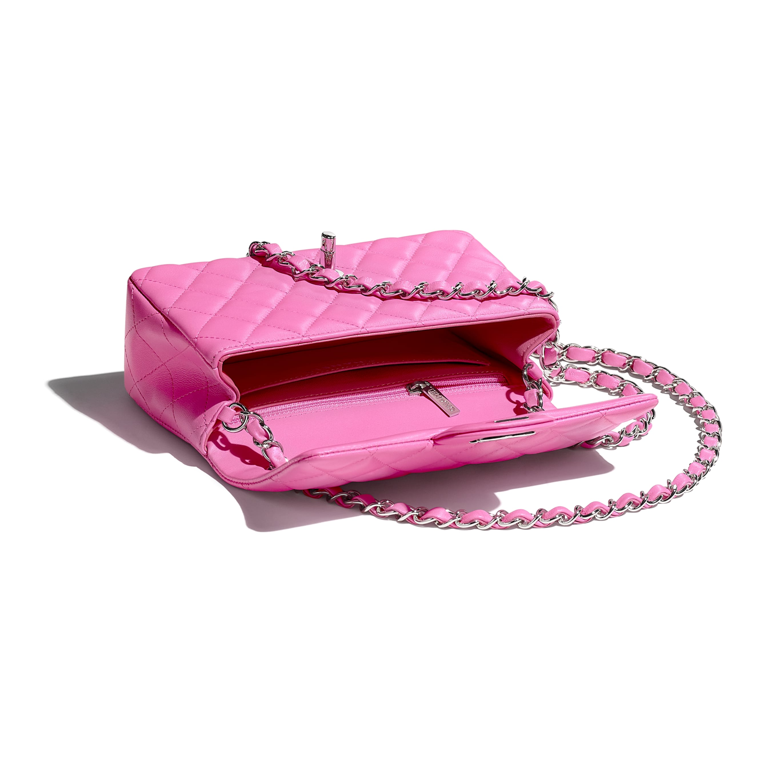 Mini Flap Bag - Neon Pink - Lambskin - CHANEL - Other view - see standard sized version