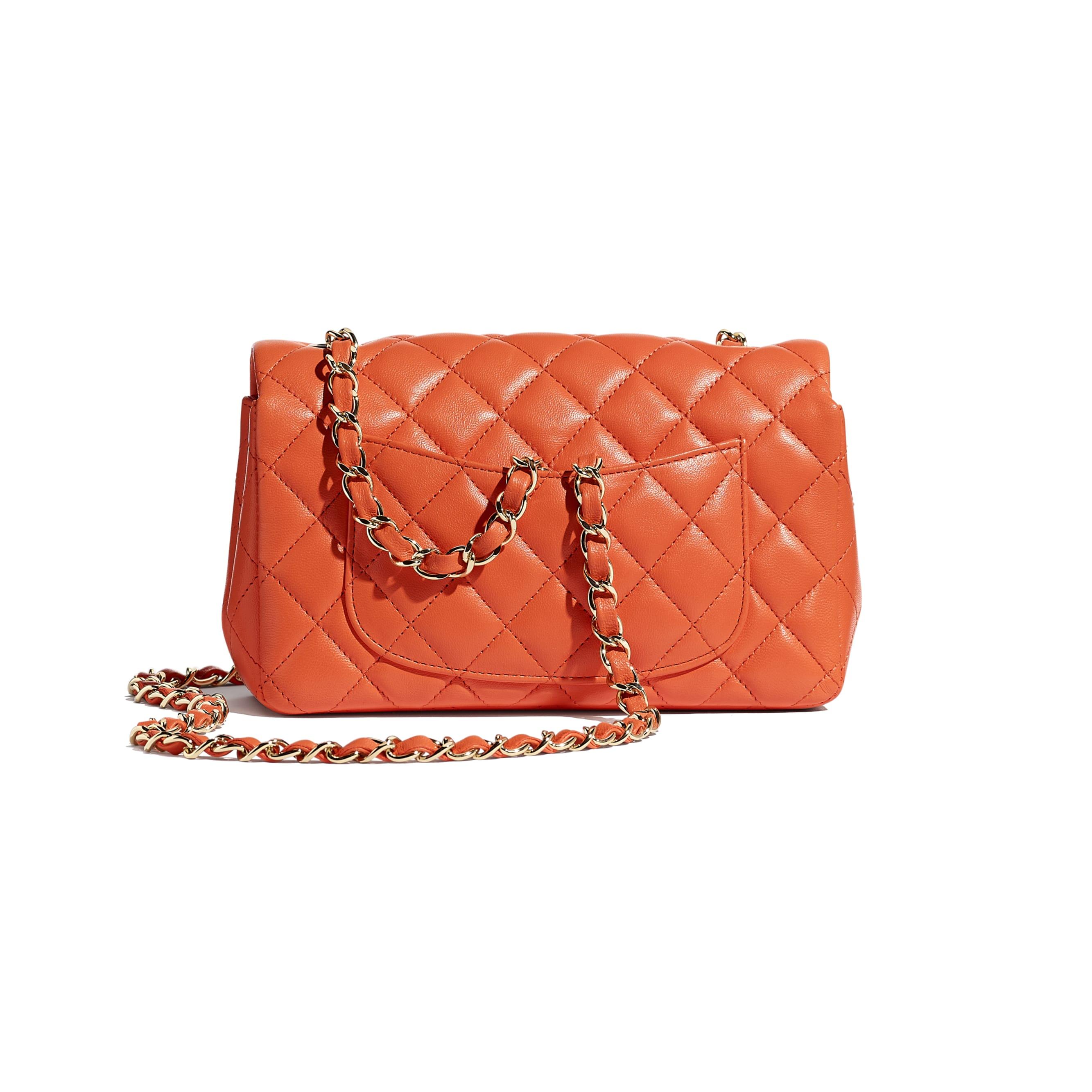 Mini Flap Bag - Orange - Lambskin & Gold-Tone Metal - CHANEL - Alternative view - see standard sized version