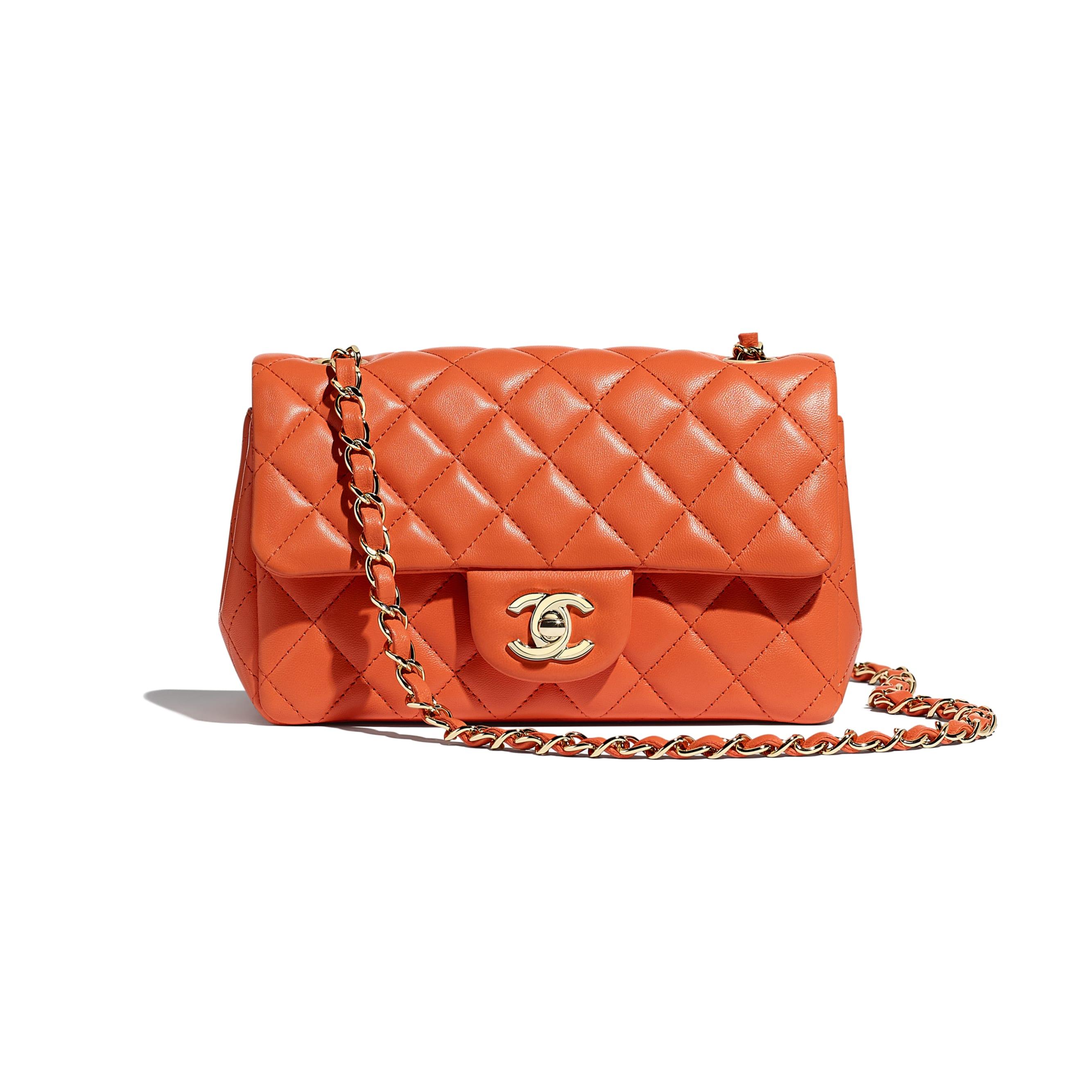 Mini Flap Bag - Orange - Lambskin & Gold-Tone Metal - CHANEL - Default view - see standard sized version