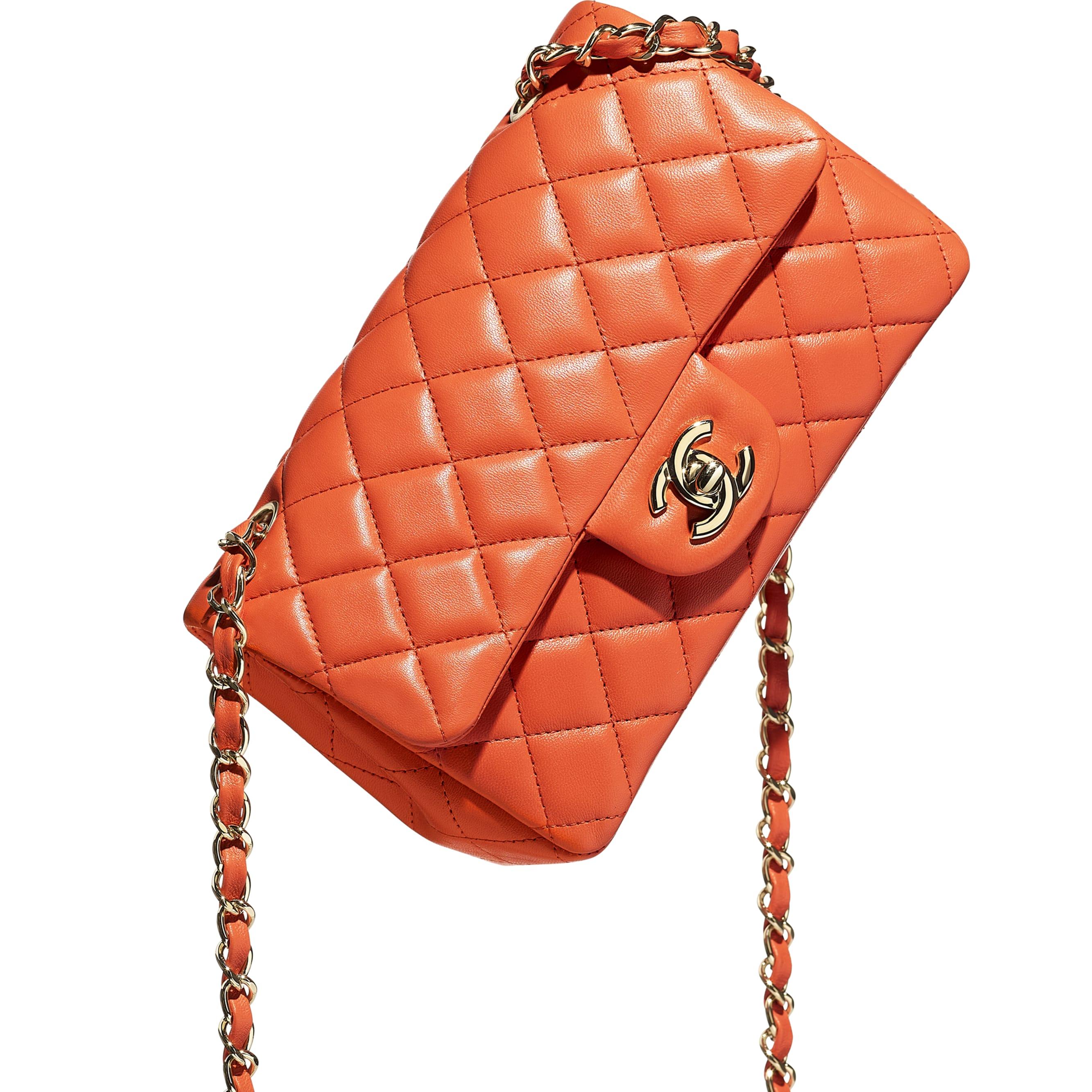 Mini Flap Bag - Orange - Lambskin & Gold-Tone Metal - CHANEL - Extra view - see standard sized version