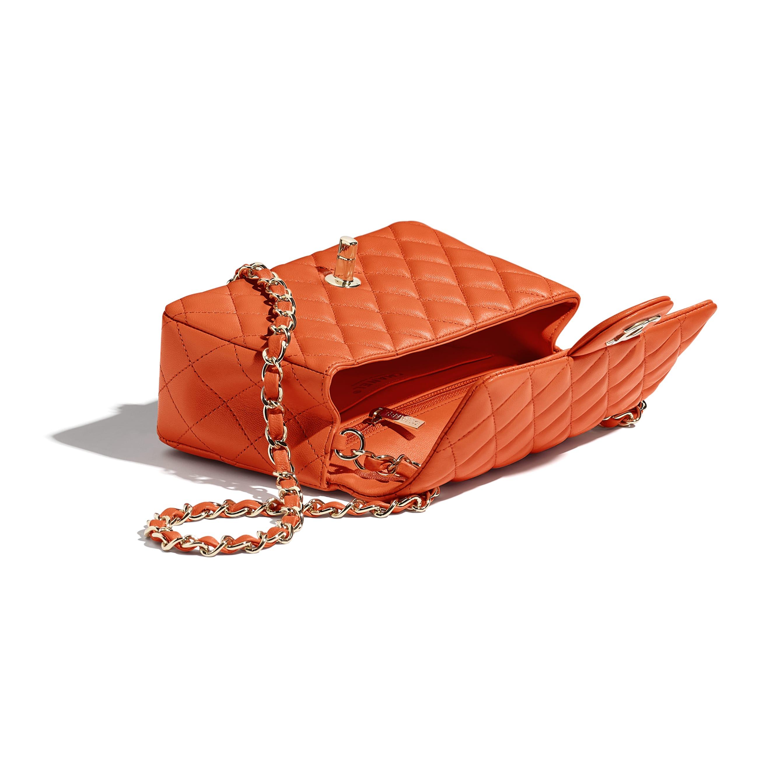 Mini Flap Bag - Orange - Lambskin & Gold-Tone Metal - CHANEL - Other view - see standard sized version
