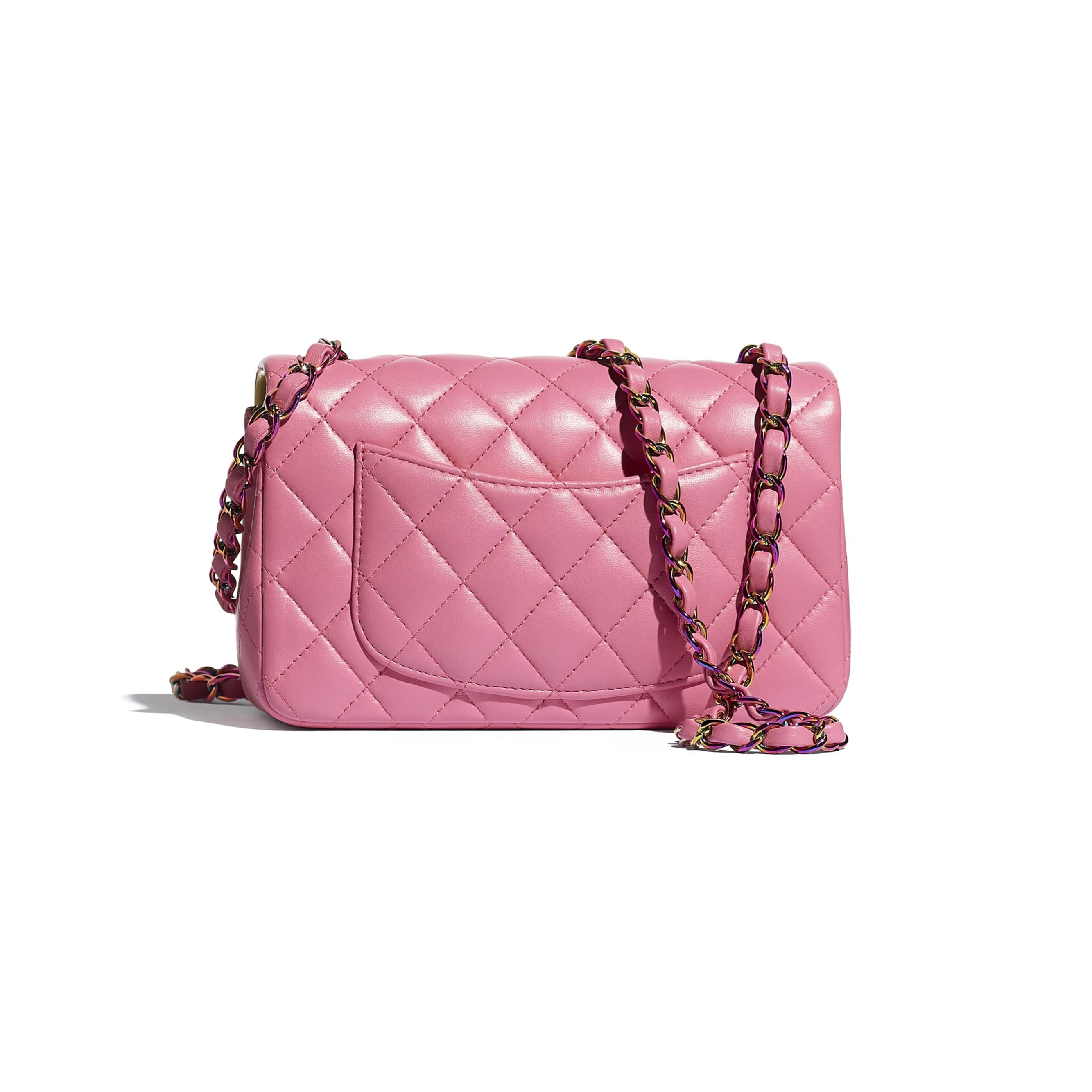 Mini Flap Bag - Pink - Lambskin & Rainbow Metal - CHANEL - Alternative view - see standard sized version