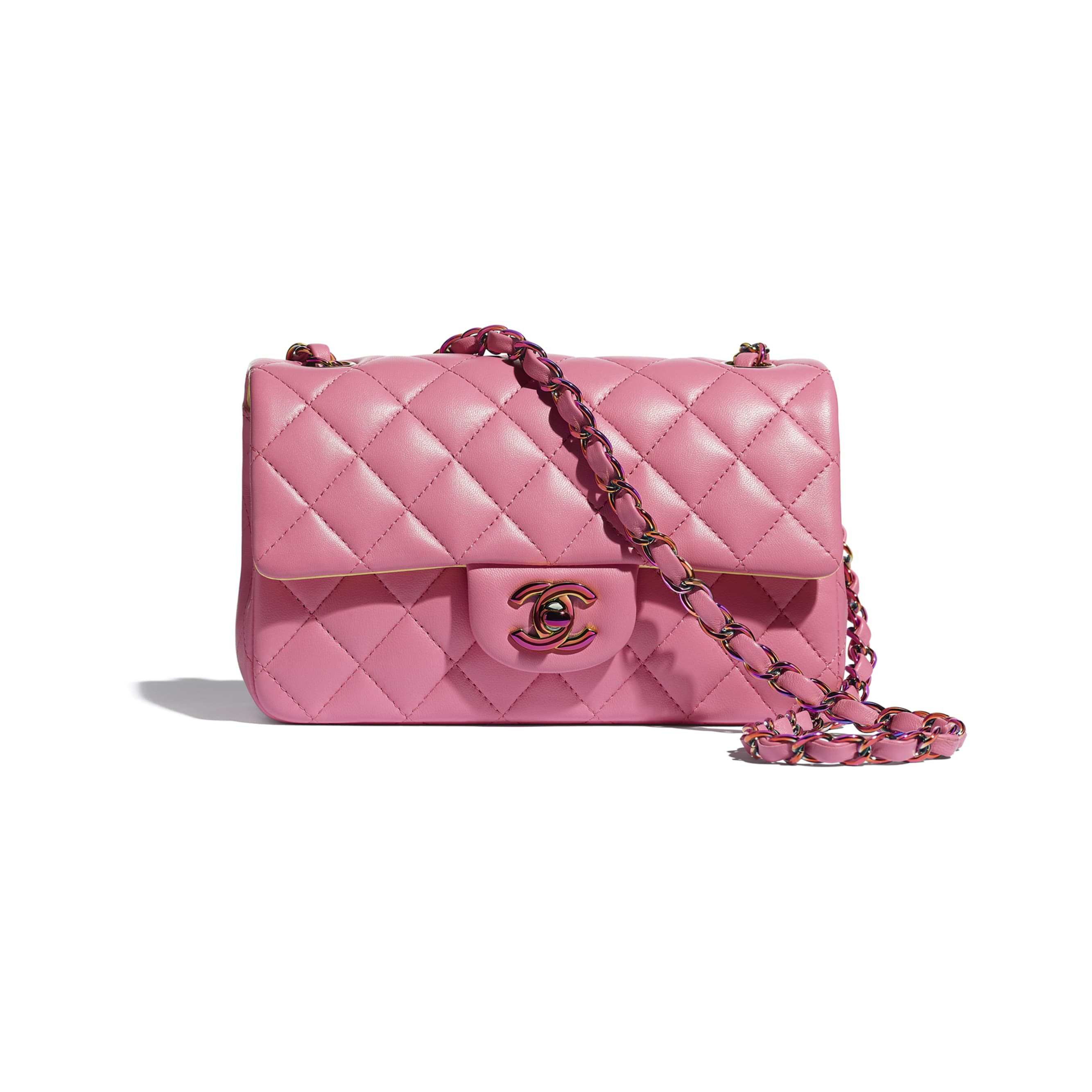 Mini Flap Bag - Pink - Lambskin & Rainbow Metal - CHANEL - Default view - see standard sized version