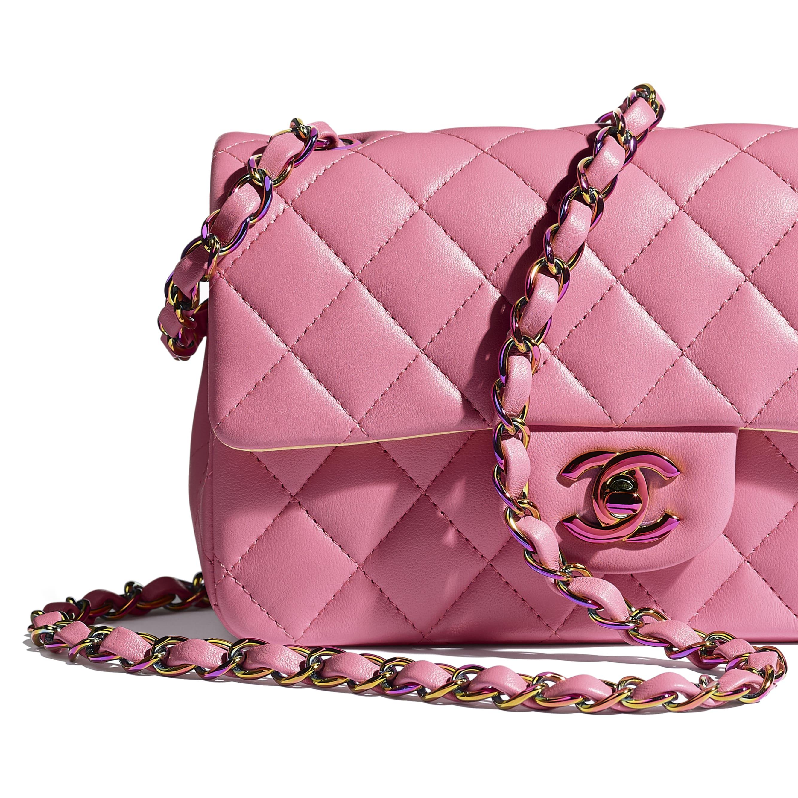 Mini Flap Bag - Pink - Lambskin & Rainbow Metal - CHANEL - Extra view - see standard sized version